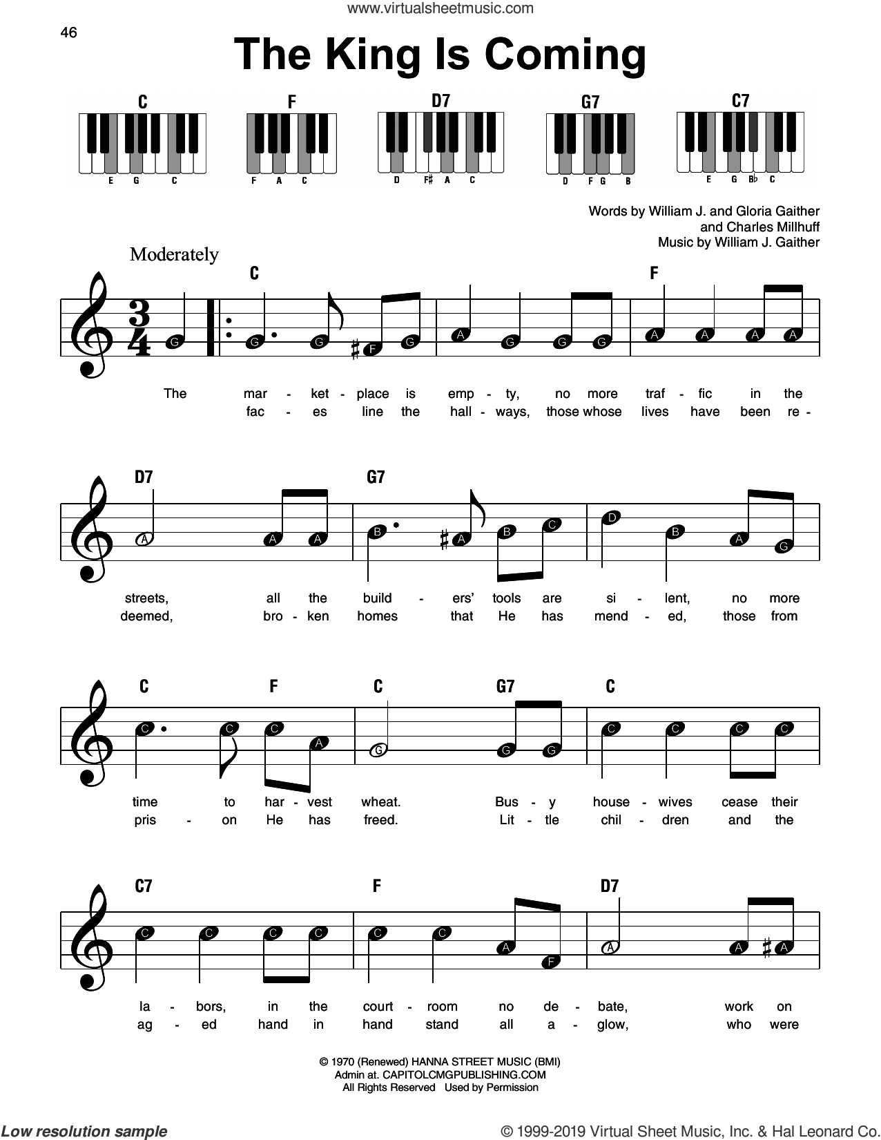 The King Is Coming sheet music for piano solo by Charles Millhuff, Gloria Gaither and William J. Gaither, beginner skill level