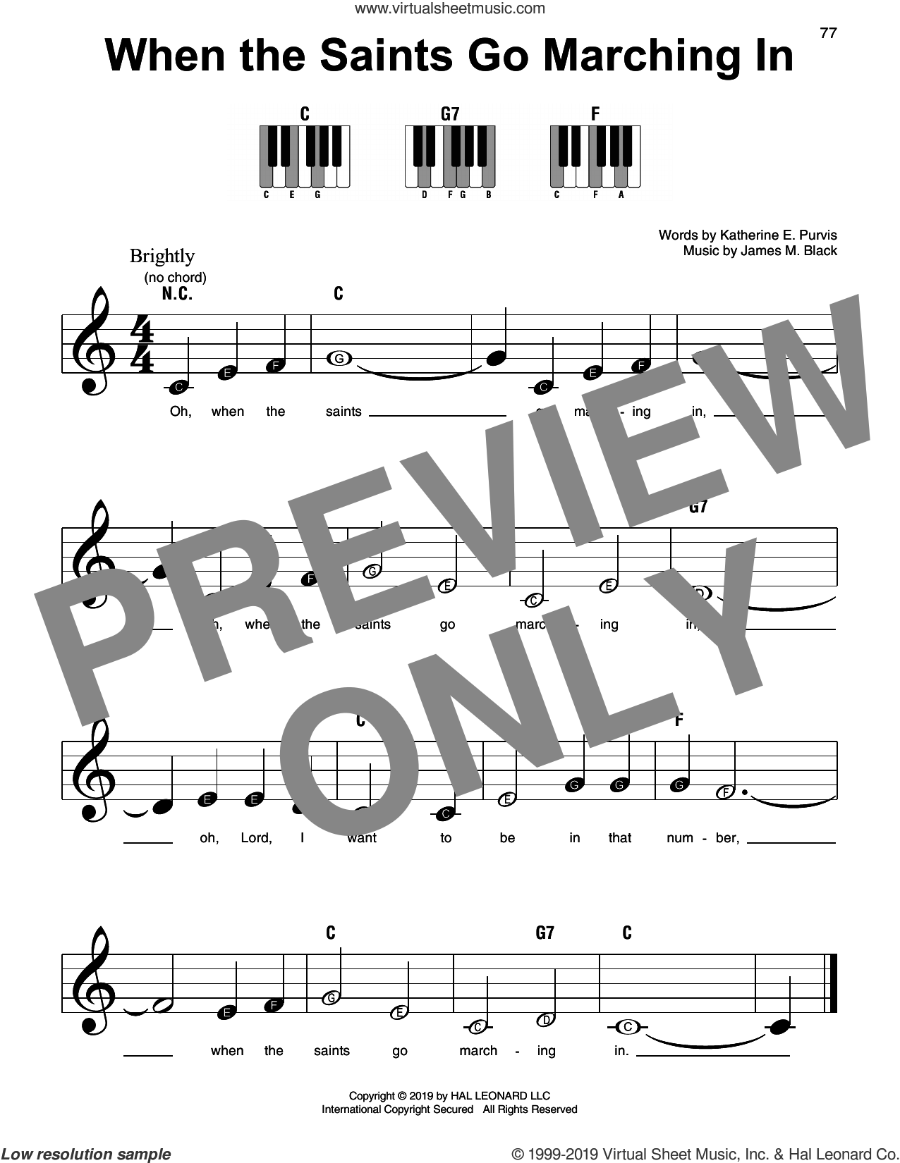 When The Saints Go Marching In sheet music for piano solo by Katherine E. Purvis and James M. Black, beginner skill level