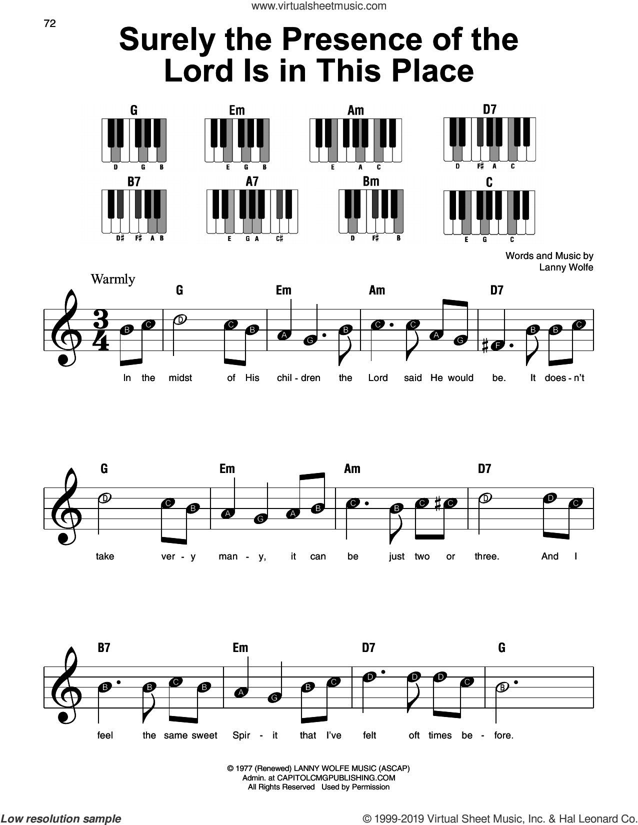 Surely The Presence Of The Lord Is In This Place sheet music for piano solo by Lanny Wolfe, beginner skill level