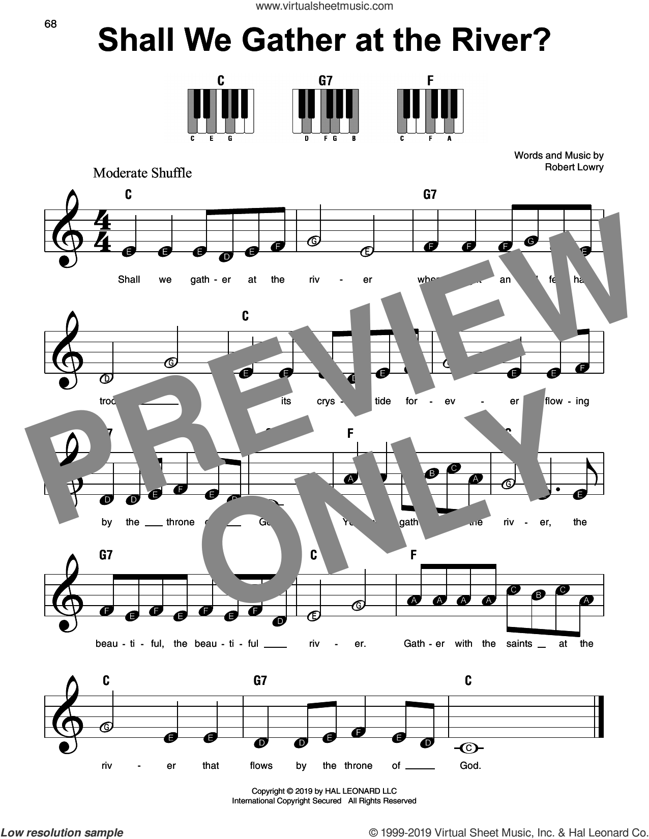 Shall We Gather At The River? sheet music for piano solo by Robert Lowry, beginner skill level