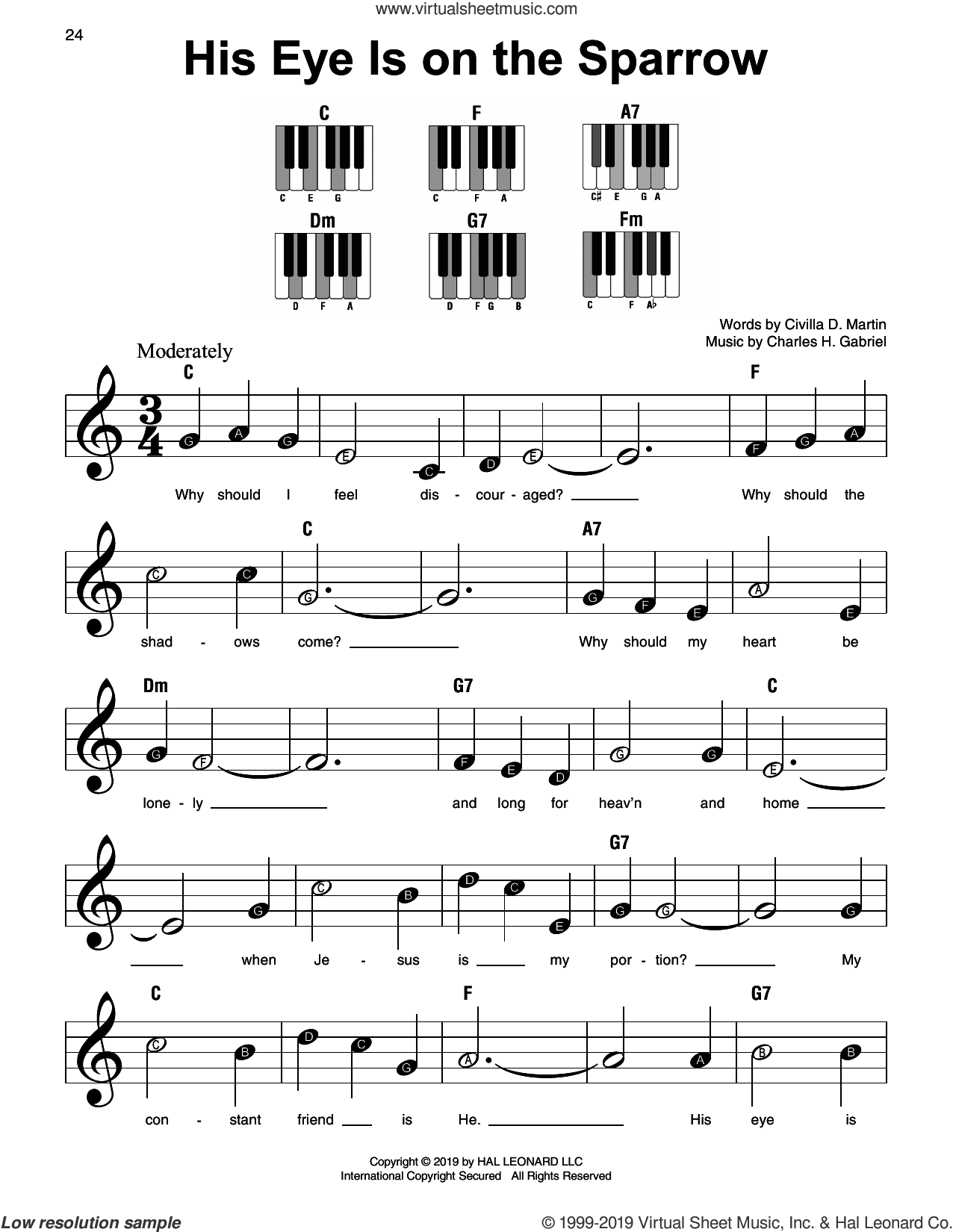 His Eye Is On The Sparrow sheet music for piano solo by Civilla D. Martin and Charles H. Gabriel, beginner skill level