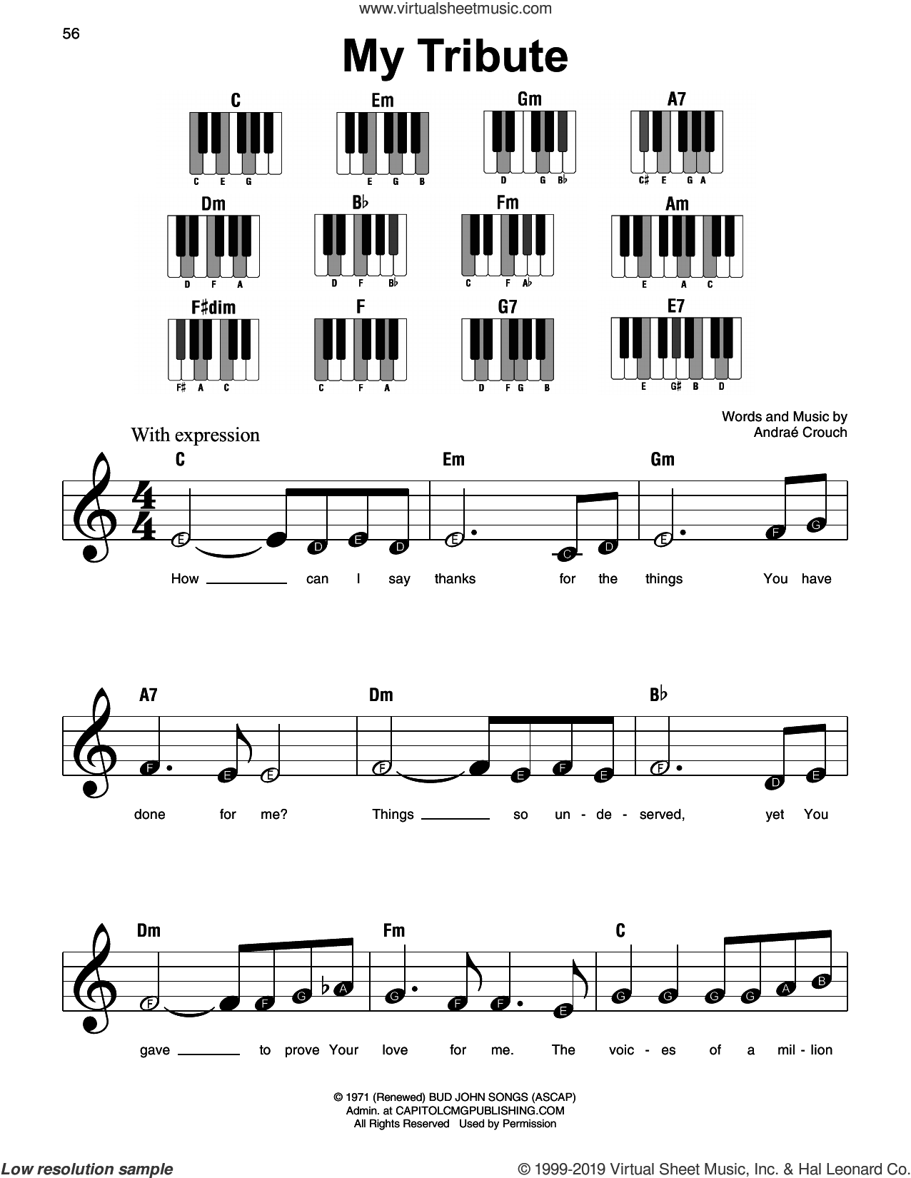 My Tribute, (beginner) sheet music for piano solo by Andrae Crouch, beginner skill level