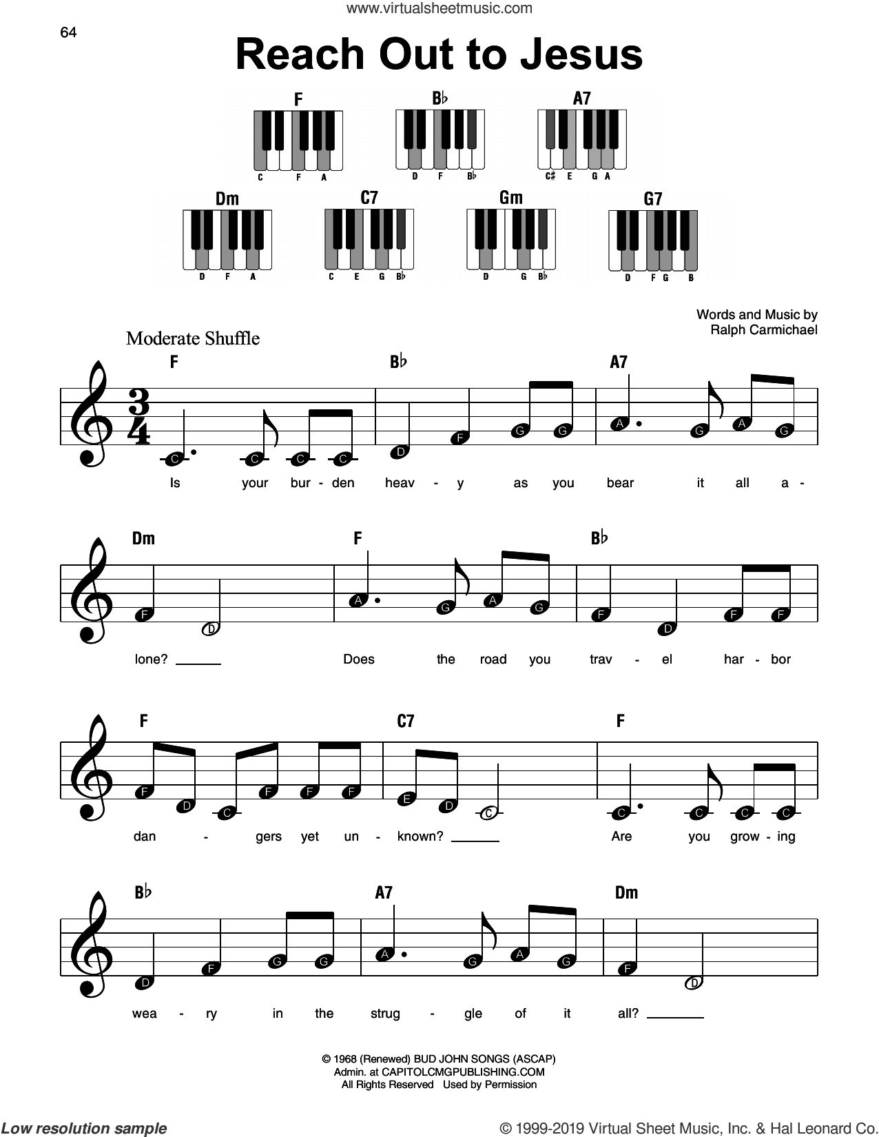 Reach Out To Jesus sheet music for piano solo by Elvis Presley and Ralph Carmichael, beginner skill level