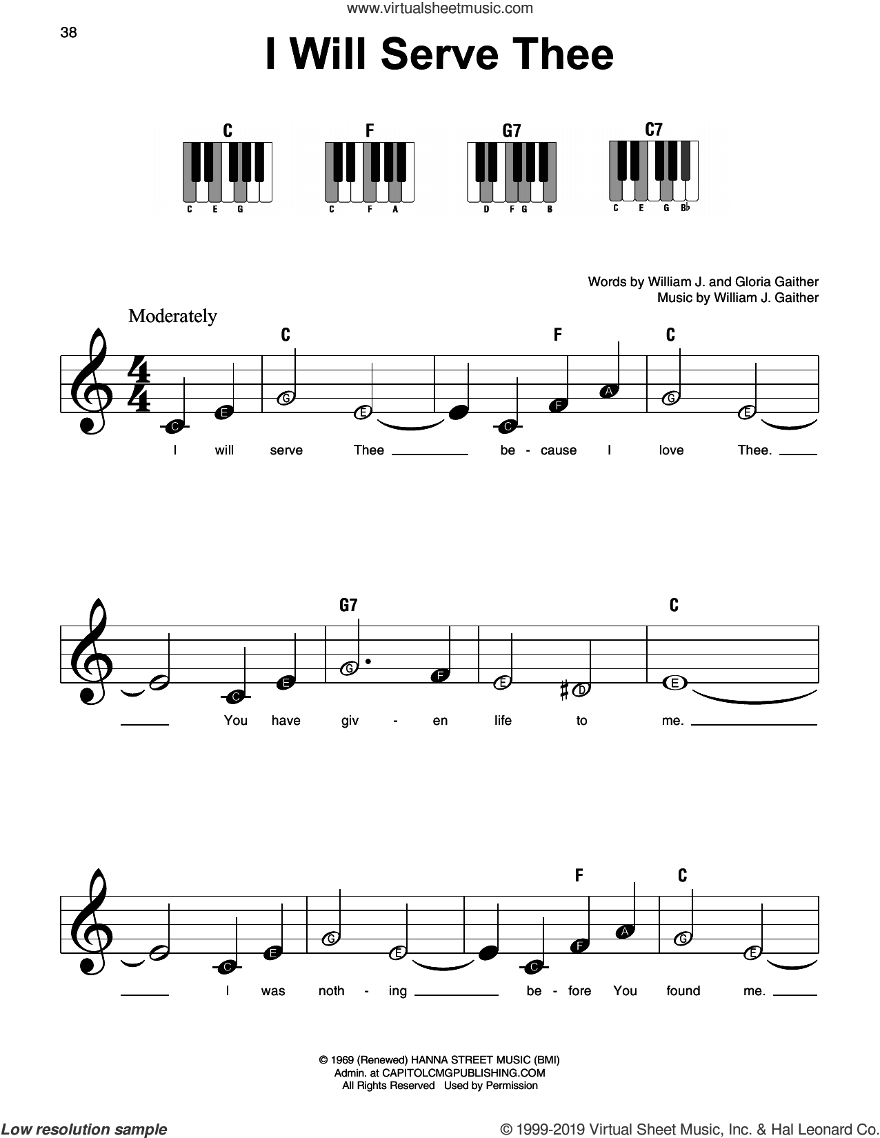 I Will Serve Thee sheet music for piano solo by William J. Gaither and Gloria Gaither, beginner skill level