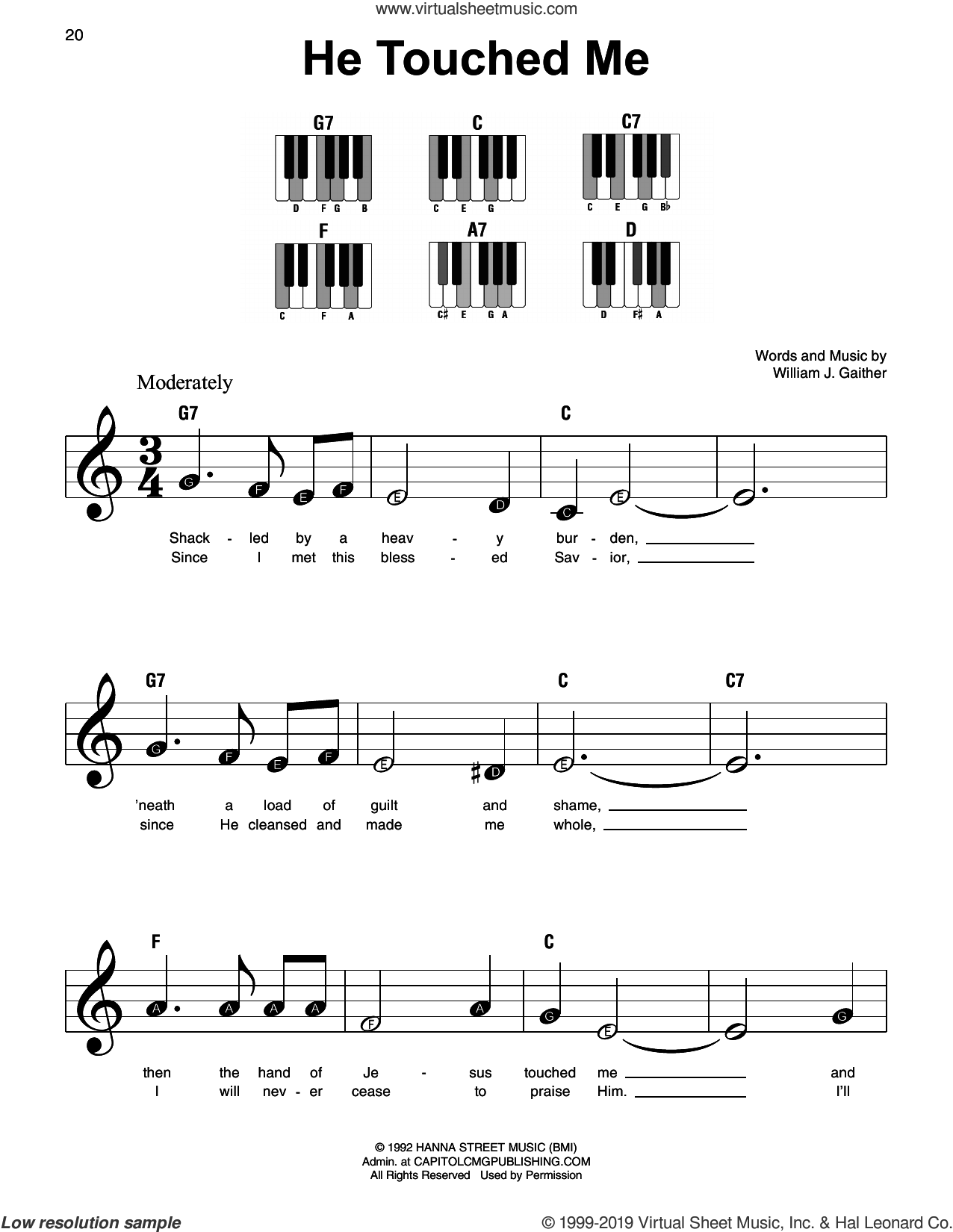 He Touched Me sheet music for piano solo by William J. Gaither, beginner skill level