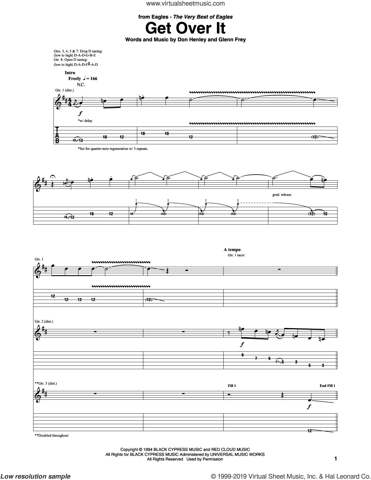 Get Over It sheet music for guitar (tablature) by Don Henley, The Eagles and Glenn Frey, intermediate skill level