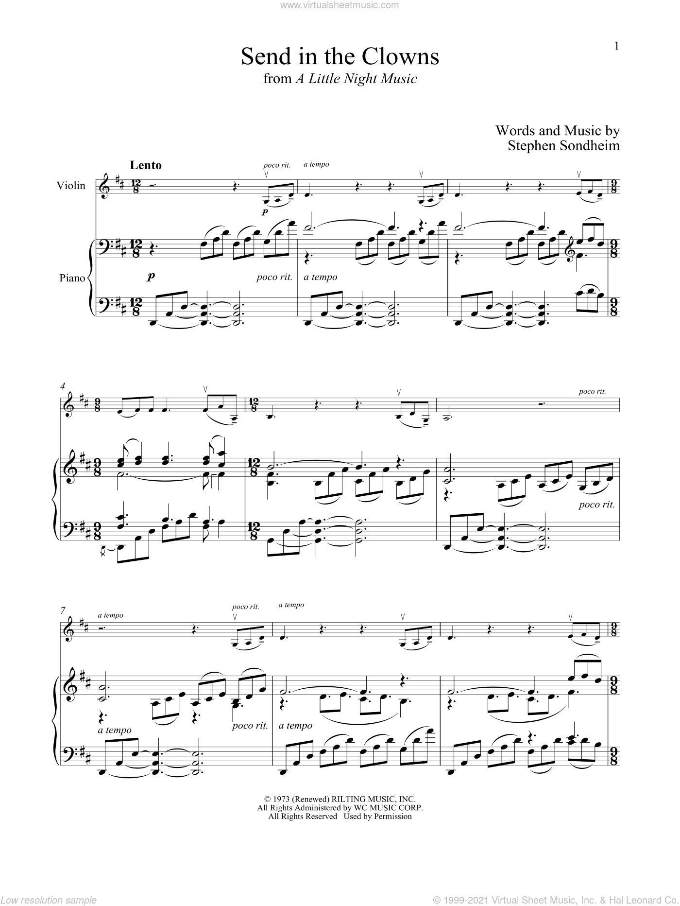Send In The Clowns (from A Little Night Music) sheet music for violin and piano by Stephen Sondheim, intermediate skill level
