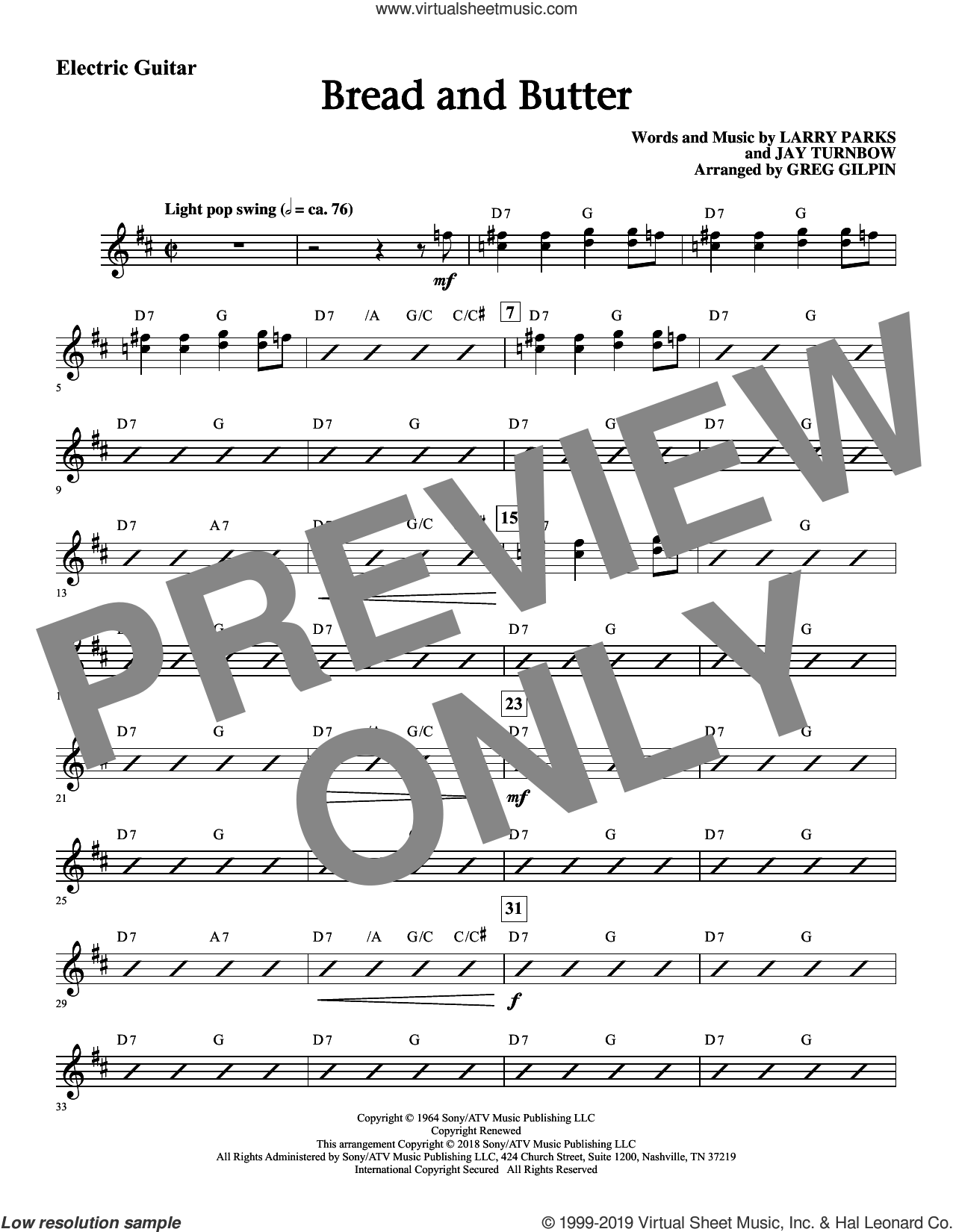 Bread and Butter (arr. Greg Gilpin) (complete set of parts) sheet music for orchestra/band by Newbeats, Jay Turnbow, Larry Parks and Larry Parks & Jay Turnbow, intermediate skill level