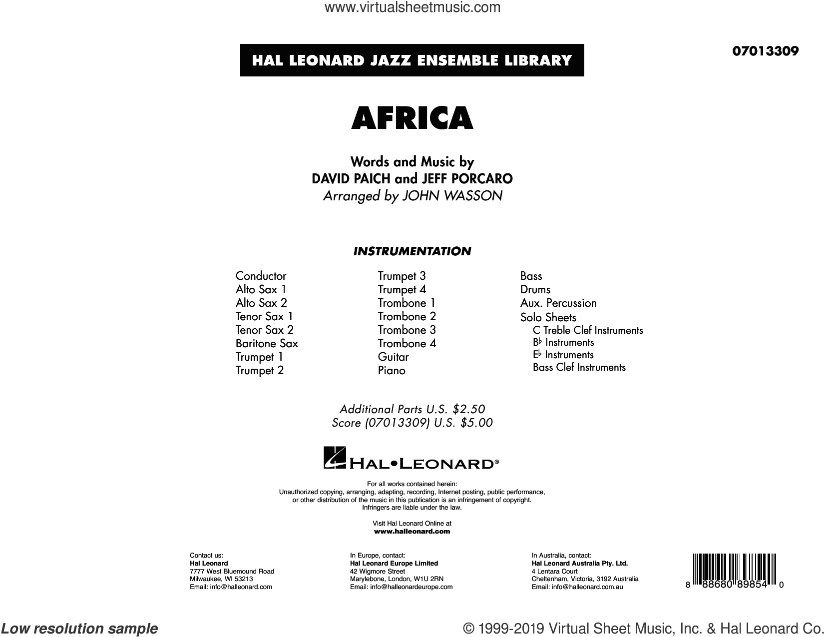 Africa (arr. John Wasson) (COMPLETE) sheet music for jazz band by John Wasson, David Paich, Jeff Porcaro and Toto, intermediate skill level