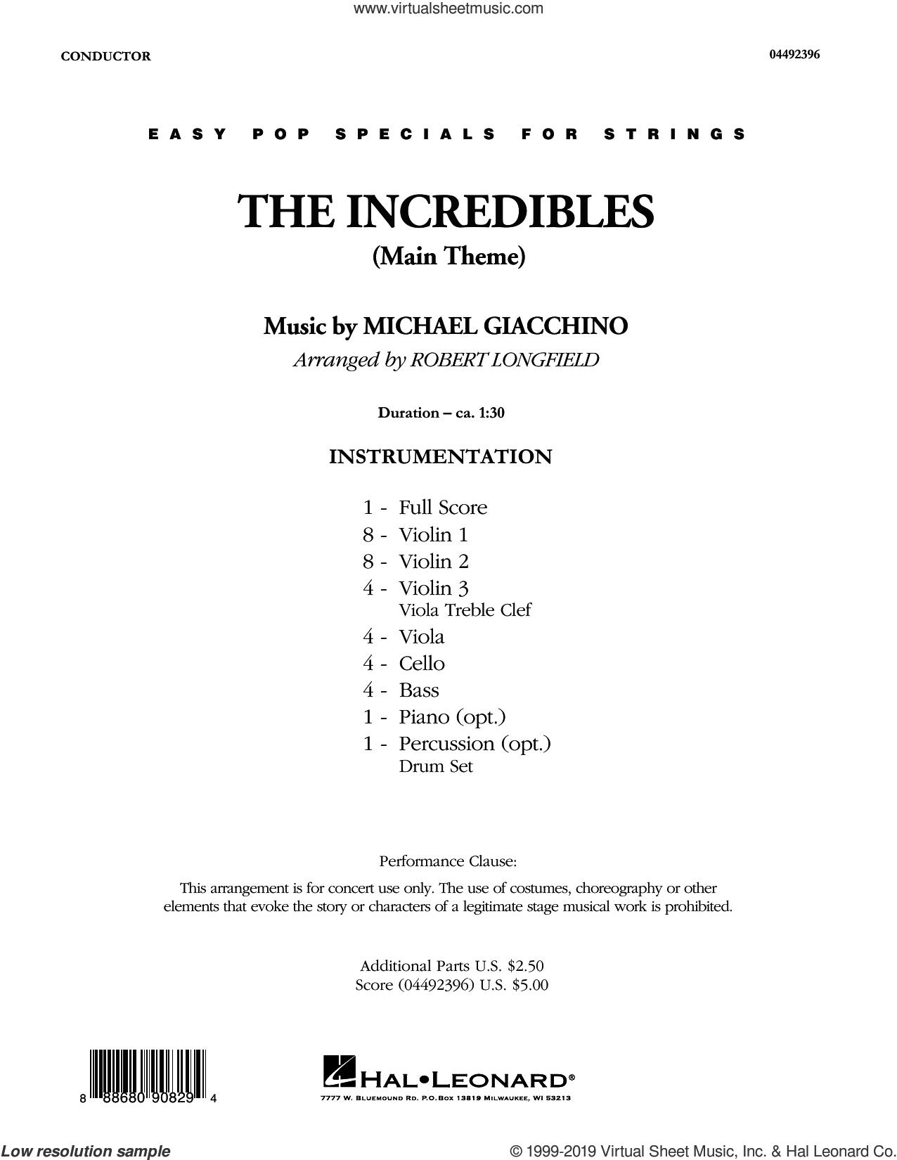 The Incredibles (Main Theme) (arr. Robert Longfield) (COMPLETE) sheet music for orchestra by Robert Longfield and Michael Giacchino, intermediate skill level