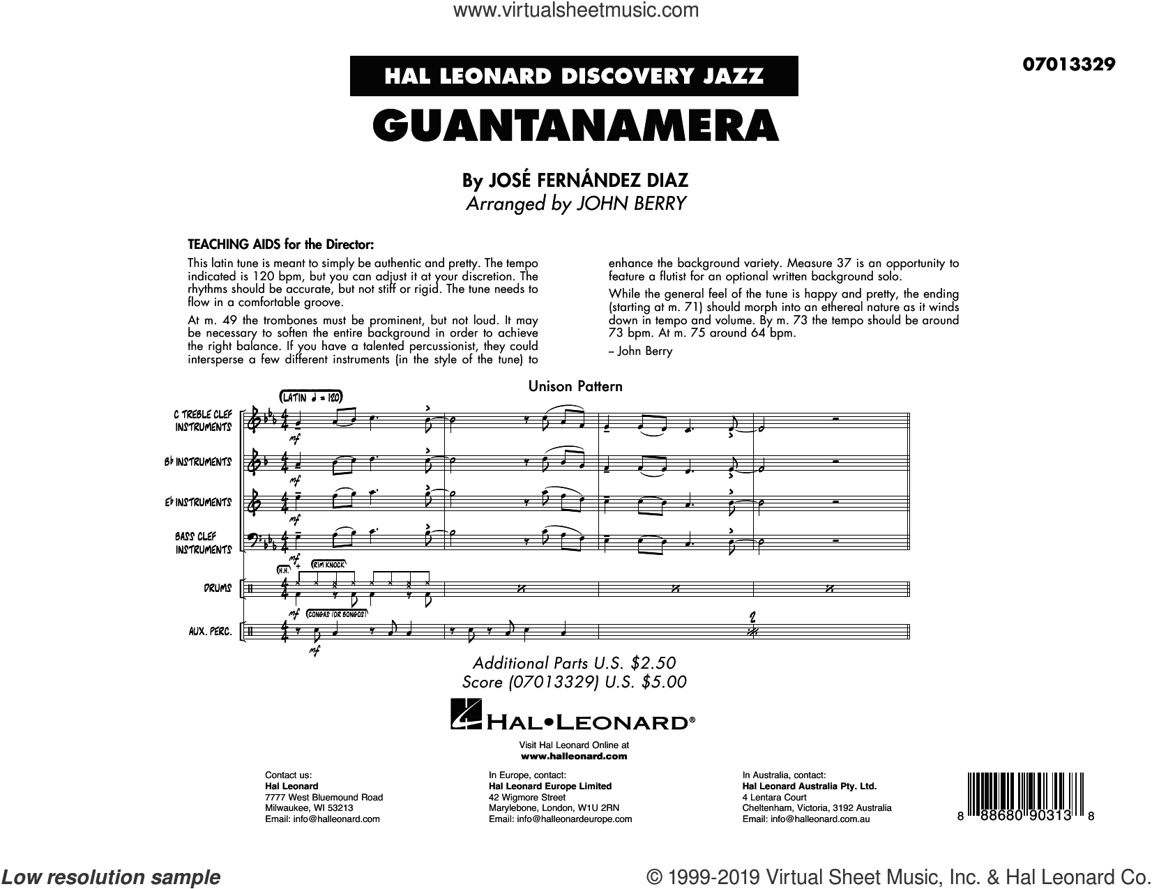 Guantanamera (arr. John Berry) (COMPLETE) sheet music for jazz band by John Berry and Jose Fernandez Diaz and Jose Fernandez Diaz, intermediate skill level