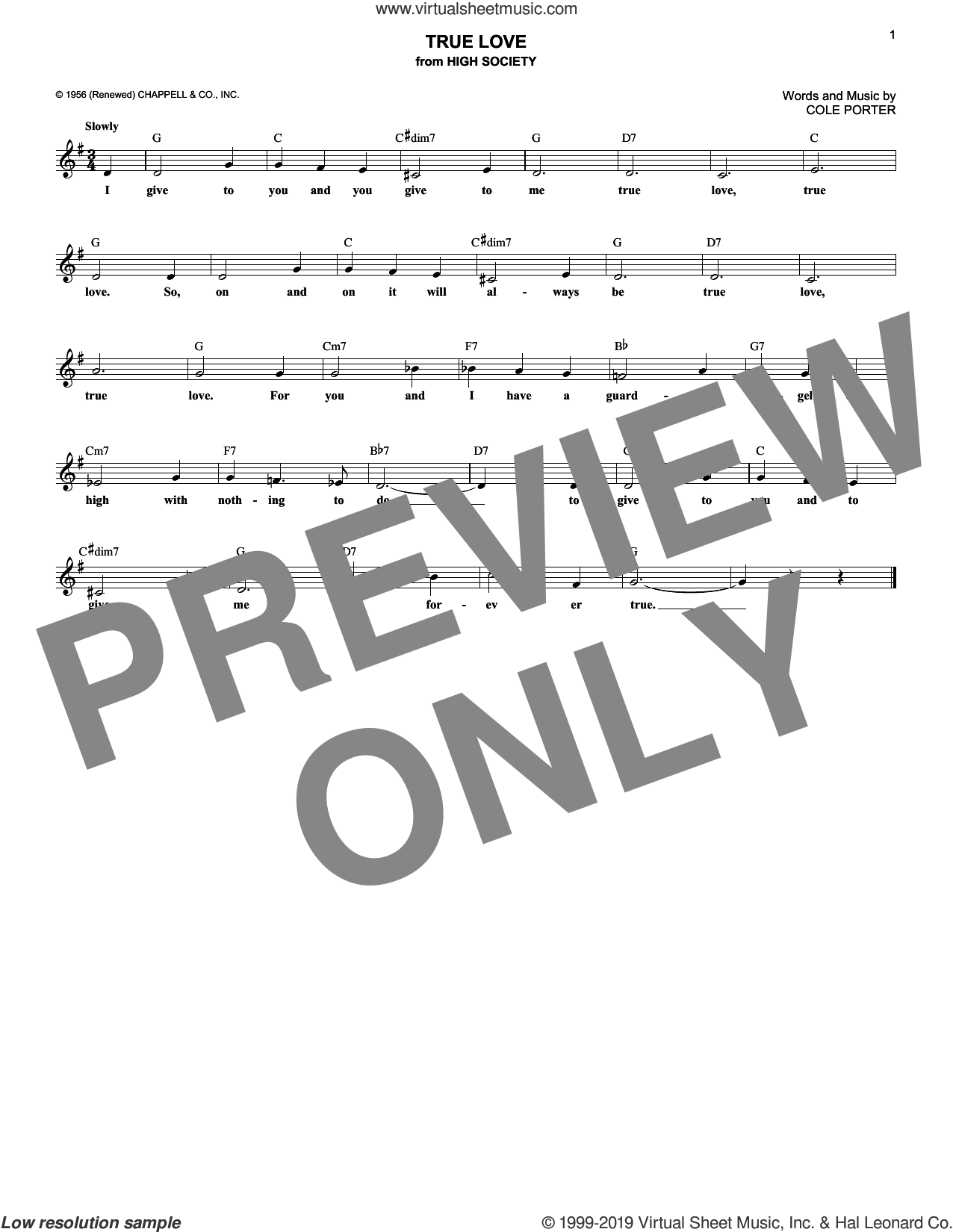 True Love sheet music for voice and other instruments (fake book) by Cole Porter, Bing Crosby & Grace Kelly and Elvis Presley, intermediate skill level