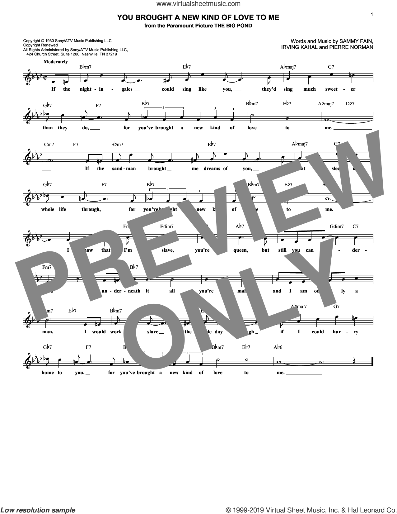 You Brought A New Kind Of Love To Me sheet music for voice and other instruments (fake book) by Scott Hamilton, Irving Kahal, Pierre Norman and Sammy Fain, intermediate skill level
