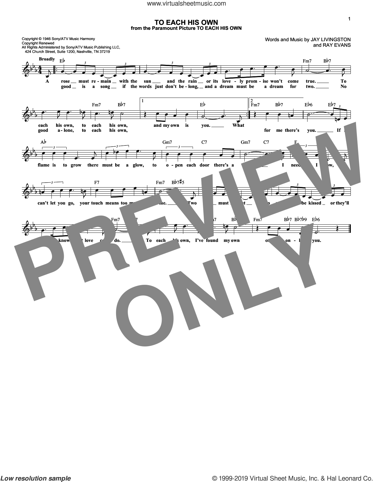 To Each His Own sheet music for voice and other instruments (fake book) by Monty Alexander, Jay Livingston and Ray Evans, intermediate skill level