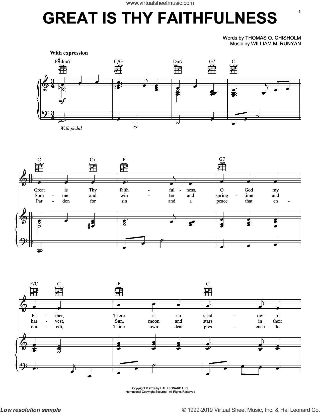 Great Is Thy Faithfulness sheet music for voice, piano or guitar by Thomas O. Chisholm and William M. Runyan, intermediate skill level