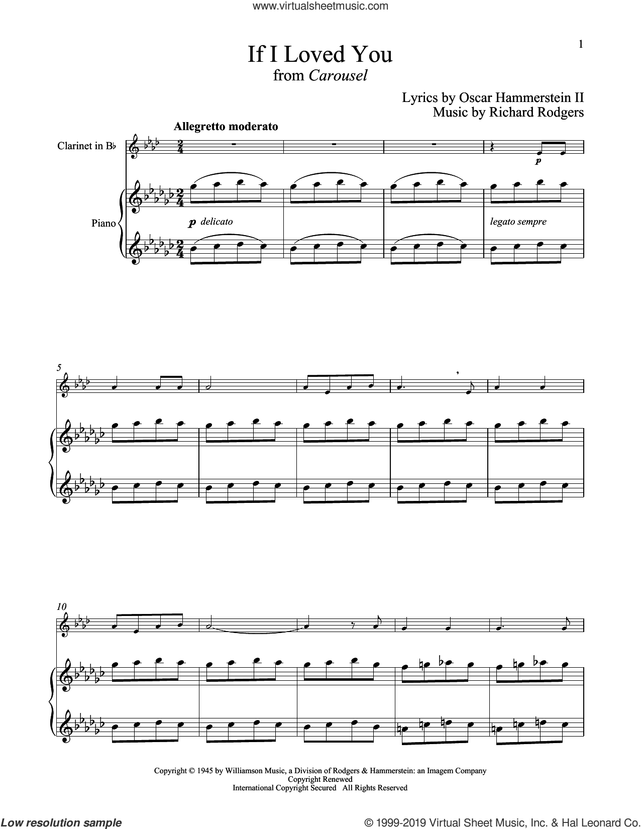 If I Loved You (from Carousel) sheet music for clarinet and piano by Rodgers & Hammerstein, Oscar II Hammerstein and Richard Rodgers, intermediate skill level