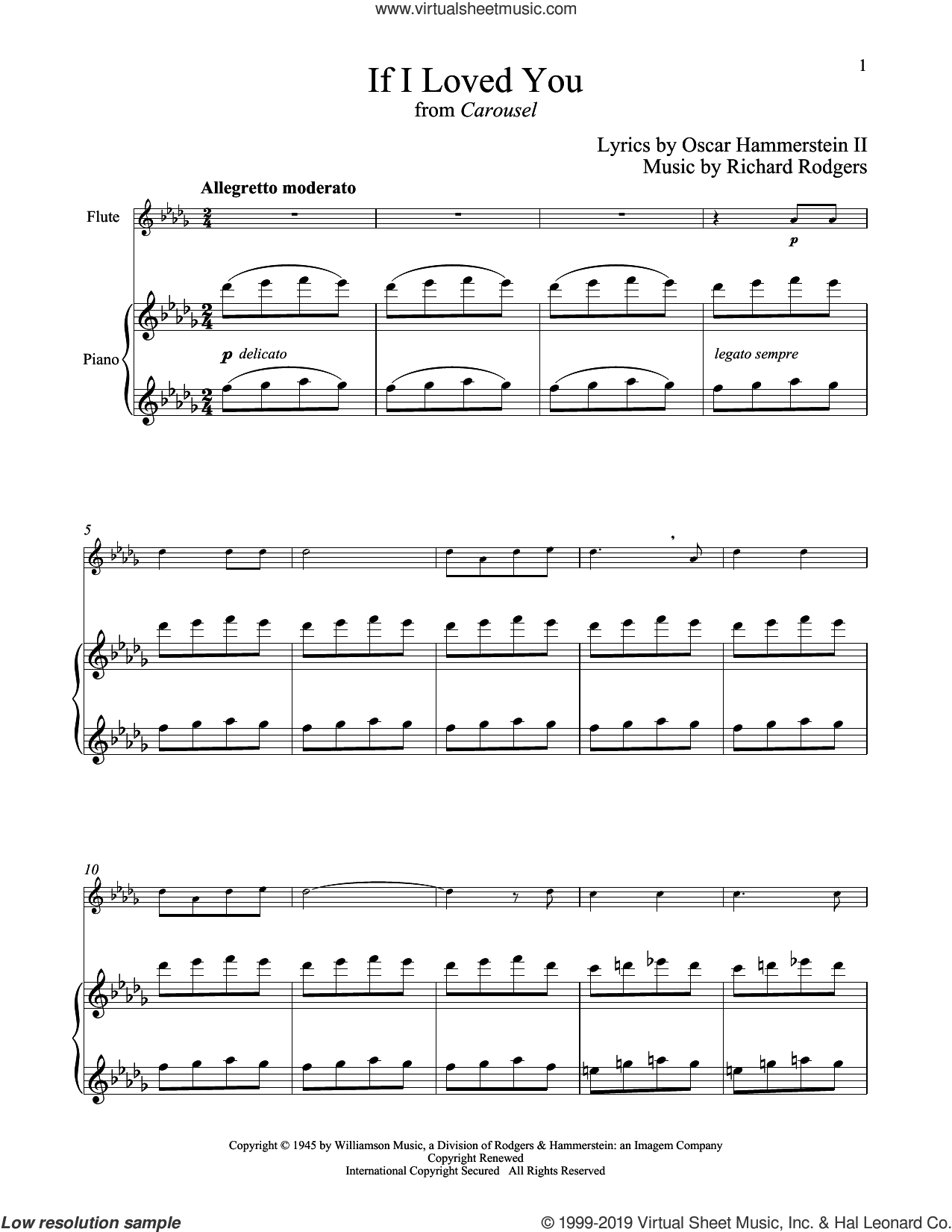 If I Loved You (from Carousel) sheet music for flute and piano by Rodgers & Hammerstein, Oscar II Hammerstein and Richard Rodgers, intermediate skill level