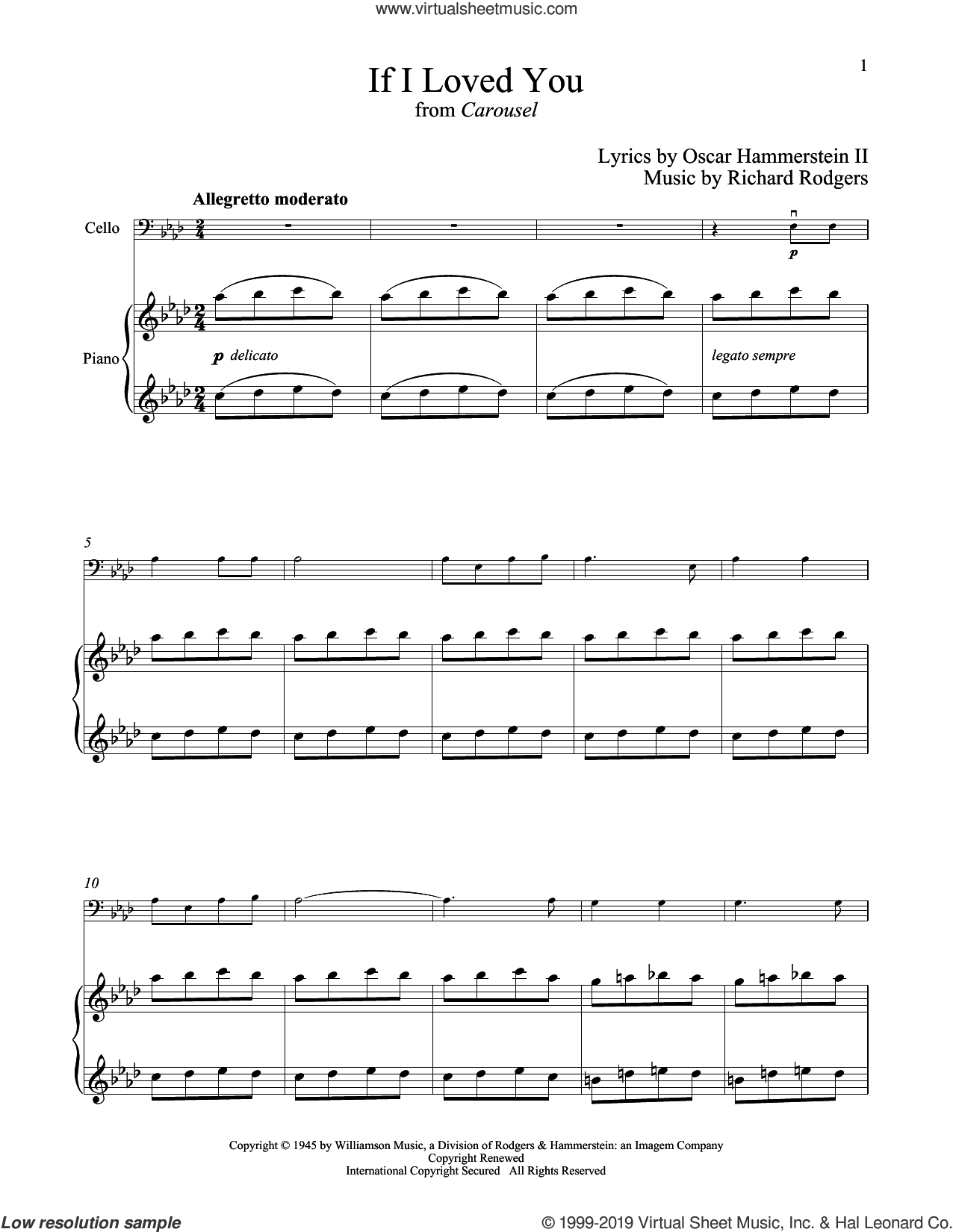 If I Loved You (from Carousel) sheet music for cello and piano by Rodgers & Hammerstein, Oscar II Hammerstein and Richard Rodgers, intermediate skill level