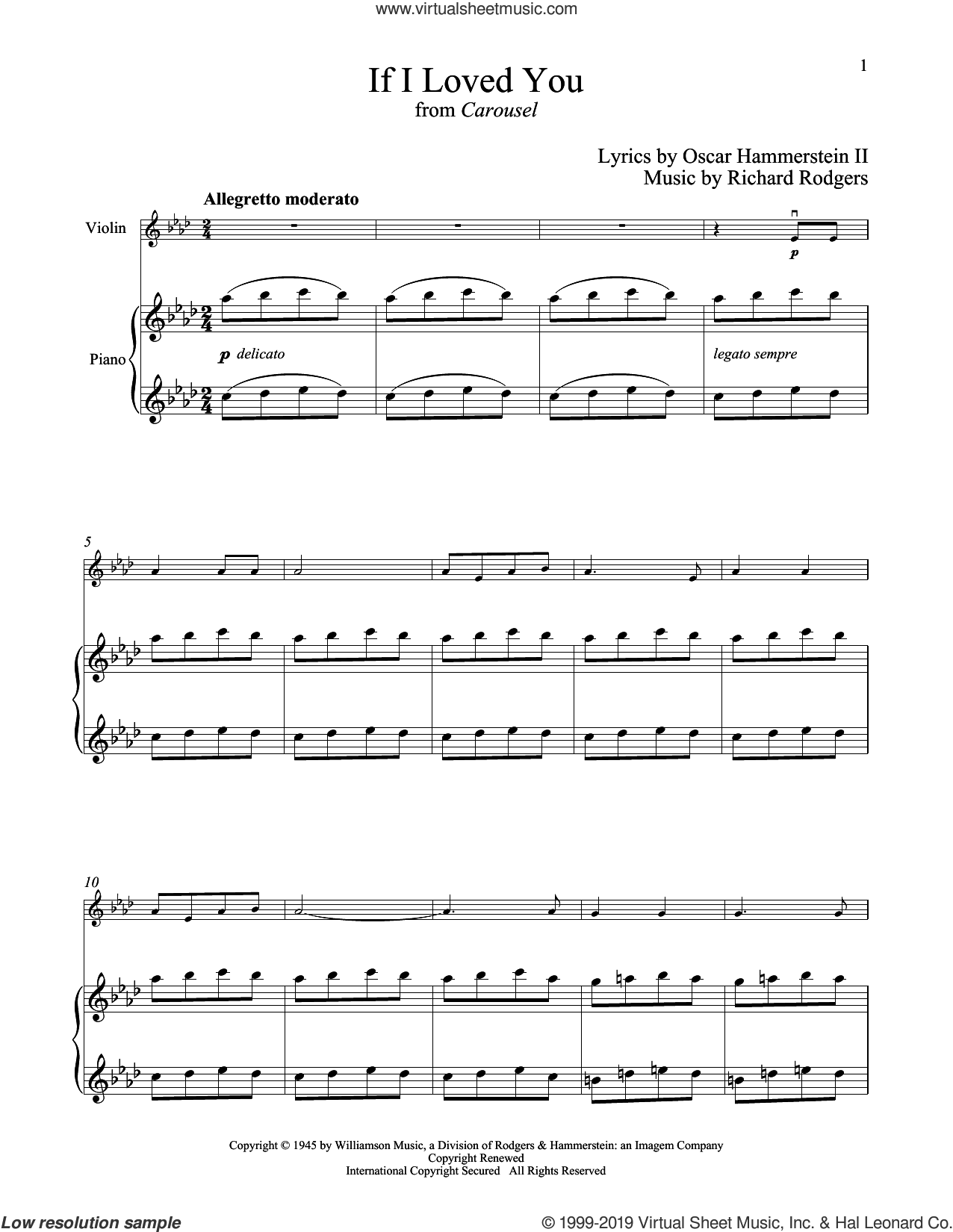 If I Loved You (from Carousel) sheet music for violin and piano by Rodgers & Hammerstein, Oscar II Hammerstein and Richard Rodgers, intermediate skill level