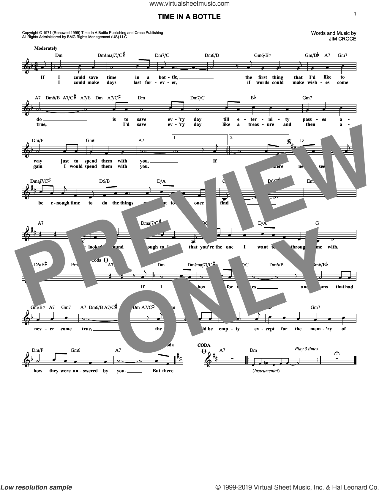Time In A Bottle sheet music for voice and other instruments (fake book) by Jim Croce, intermediate skill level