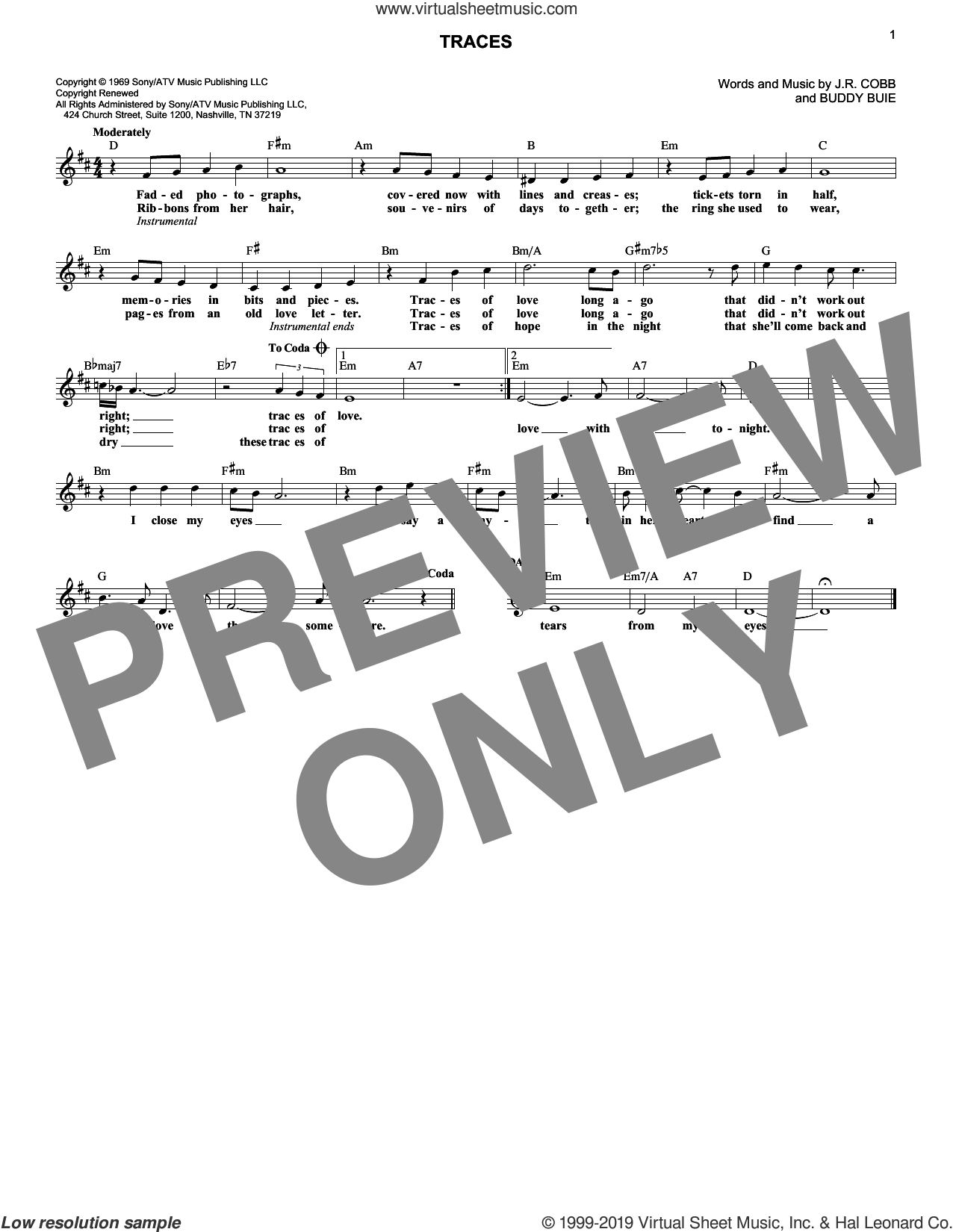 Traces sheet music for voice and other instruments (fake book) by Classics IV, Buddy Buie, Emory Gordy and James Richard Cobb III, intermediate skill level