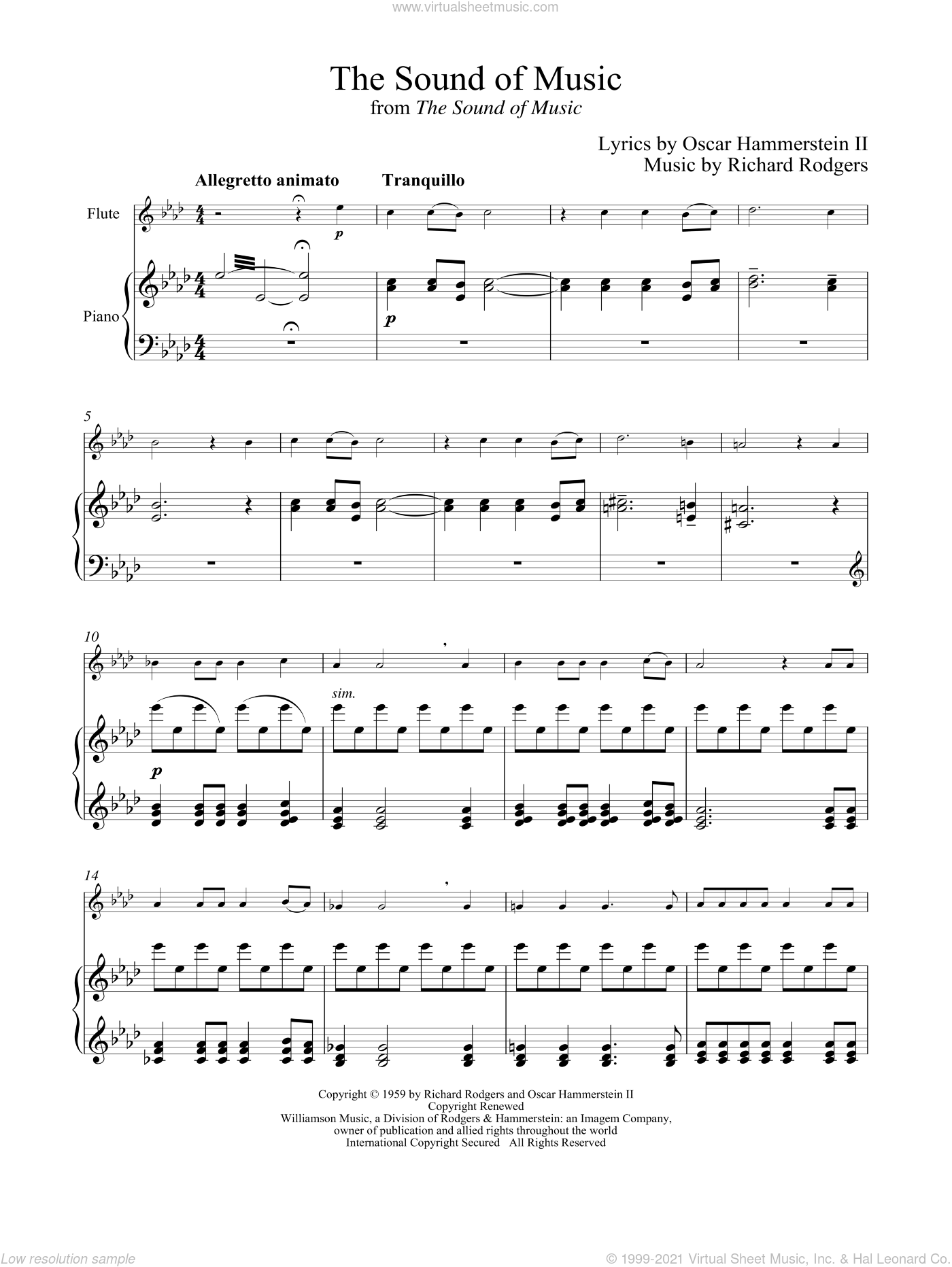The Sound Of Music sheet music for flute and piano by Rodgers & Hammerstein, Oscar II Hammerstein and Richard Rodgers, intermediate skill level