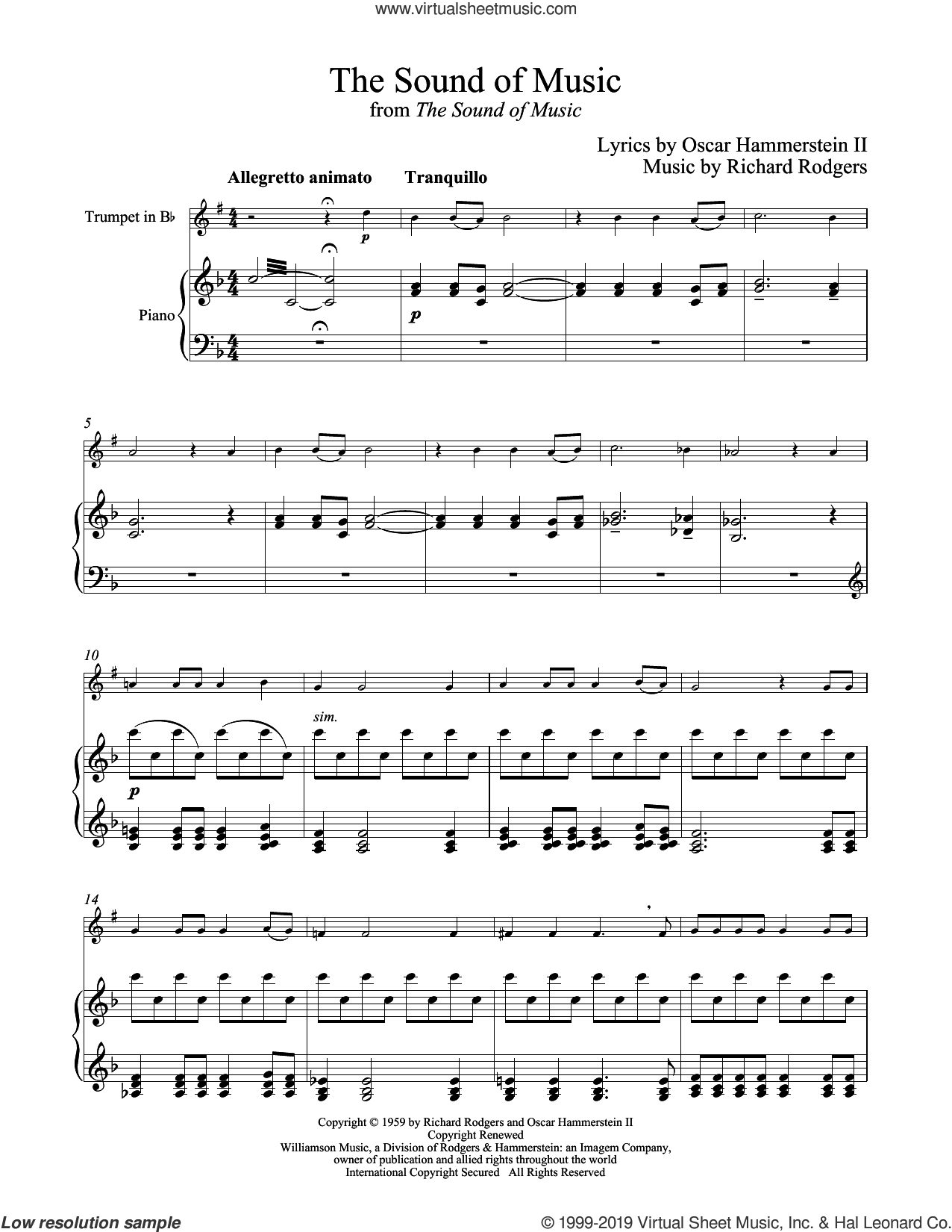 The Sound Of Music sheet music for trumpet and piano by Rodgers & Hammerstein, Oscar II Hammerstein and Richard Rodgers, intermediate skill level
