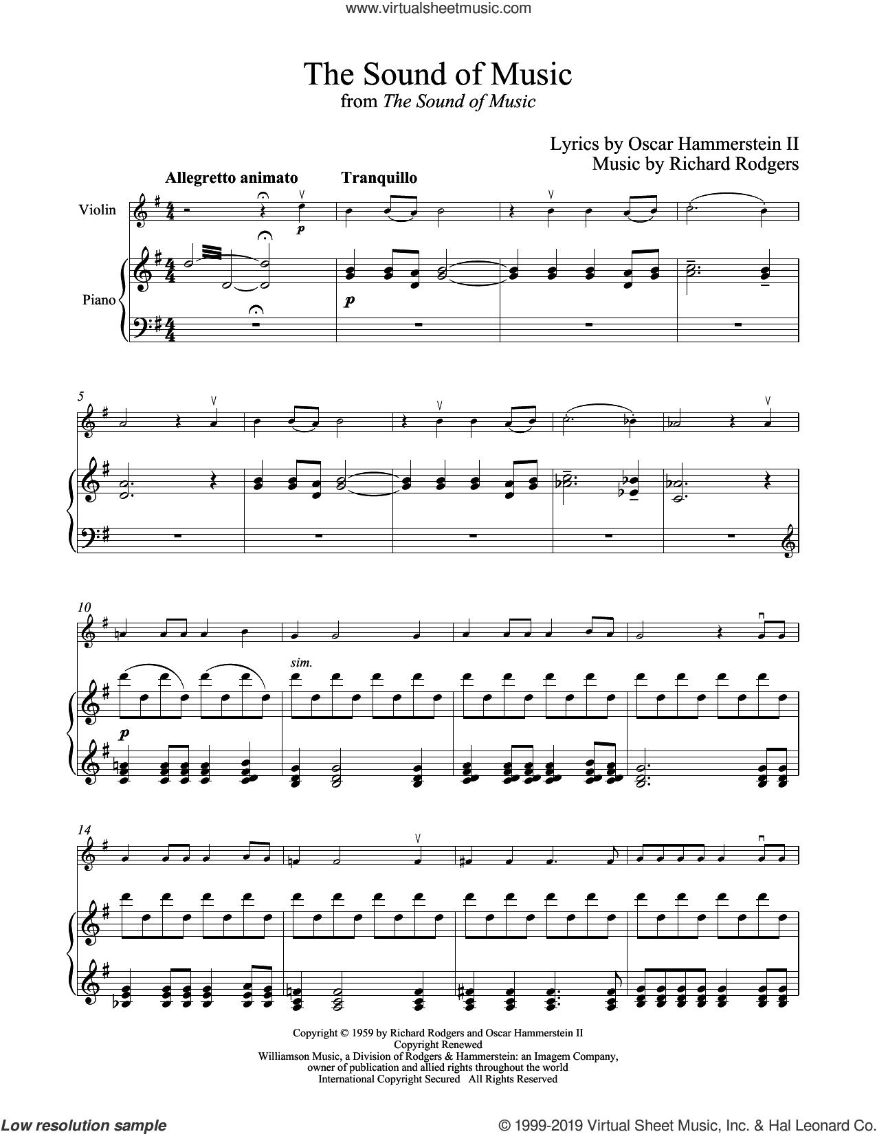 The Sound Of Music sheet music for violin and piano by Rodgers & Hammerstein, Oscar II Hammerstein and Richard Rodgers, intermediate skill level