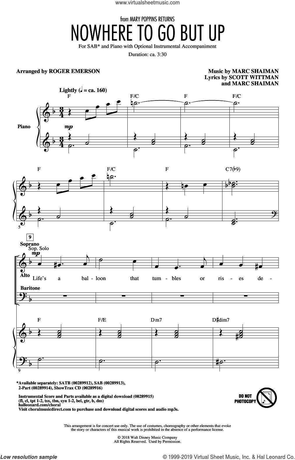 Nowhere To Go But Up (from Mary Poppins Returns) (arr. Roger Emerson) sheet music for choir (SAB: soprano, alto, bass) by Marc Shaiman, Roger Emerson, Angela Lansbury & Company, Marc Shaiman & Scott Wittman and Scott Wittman, intermediate skill level
