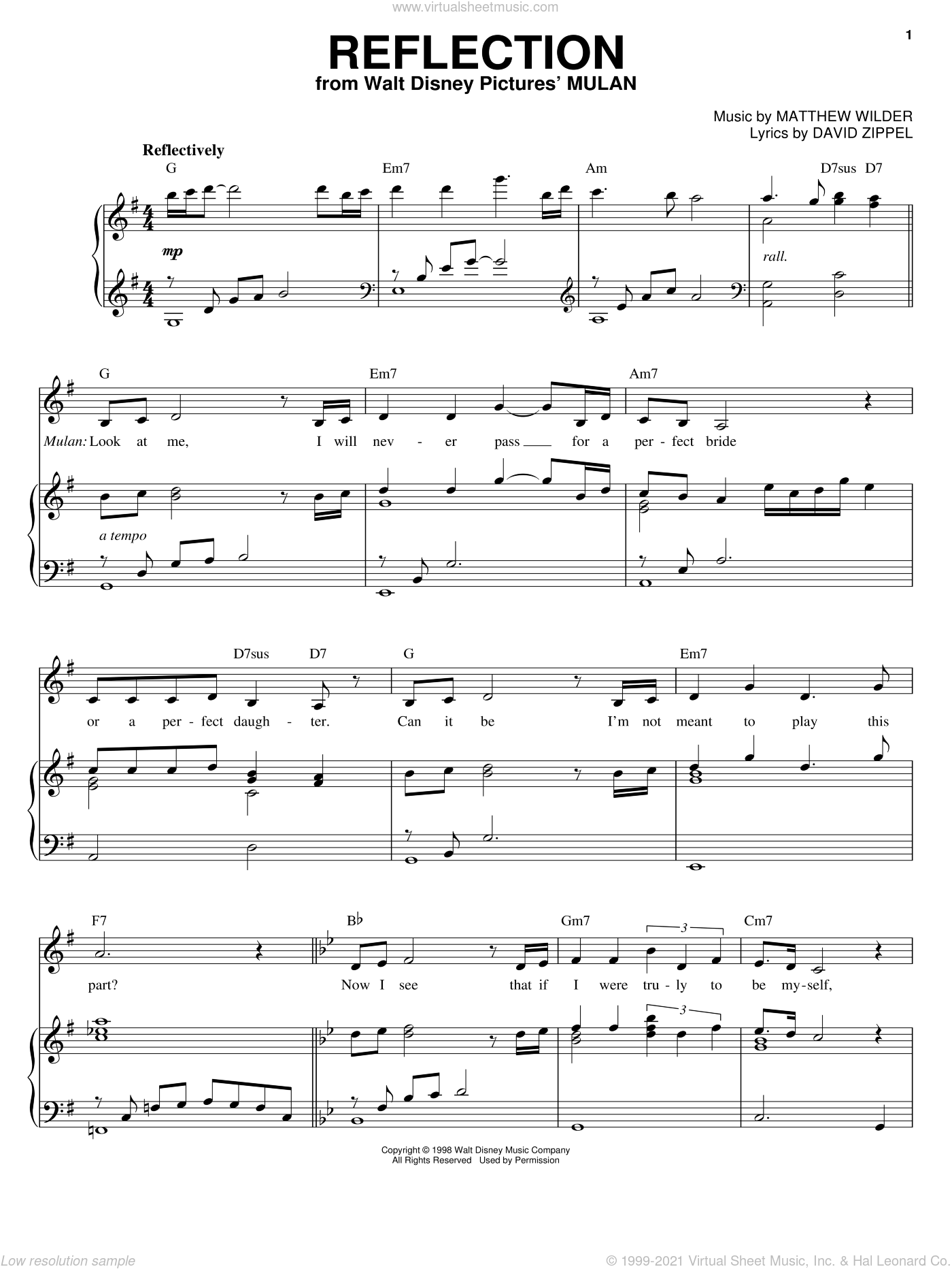 Reflection sheet music for voice and piano by David Zippel and Matthew Wilder, intermediate. Score Image Preview.