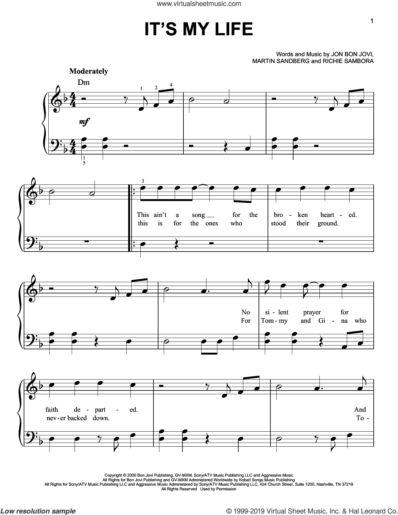 It's My Life sheet music for piano solo by Bon Jovi, Martin Sandberg and Richie Sambora, easy skill level