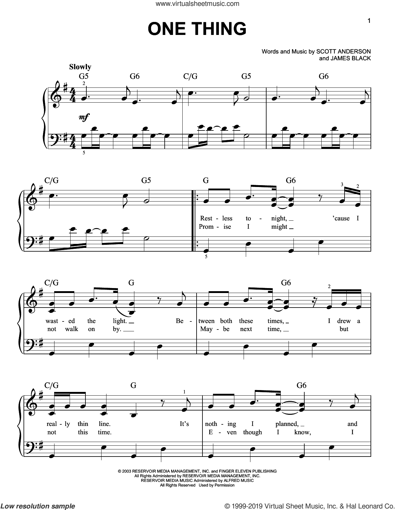 One Thing sheet music for piano solo by Finger Eleven, James M. Black and Scott Anderson, easy skill level