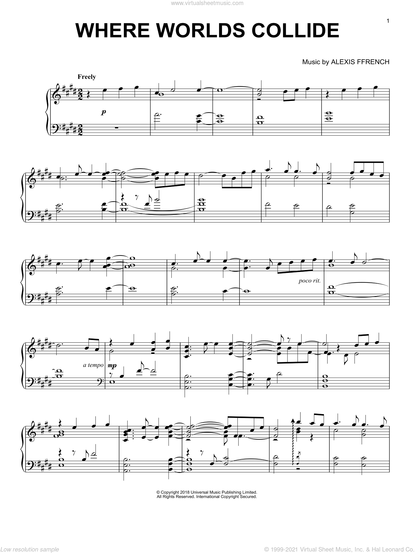 Where Worlds Collide sheet music for piano solo by Alexis Ffrench, classical score, intermediate skill level