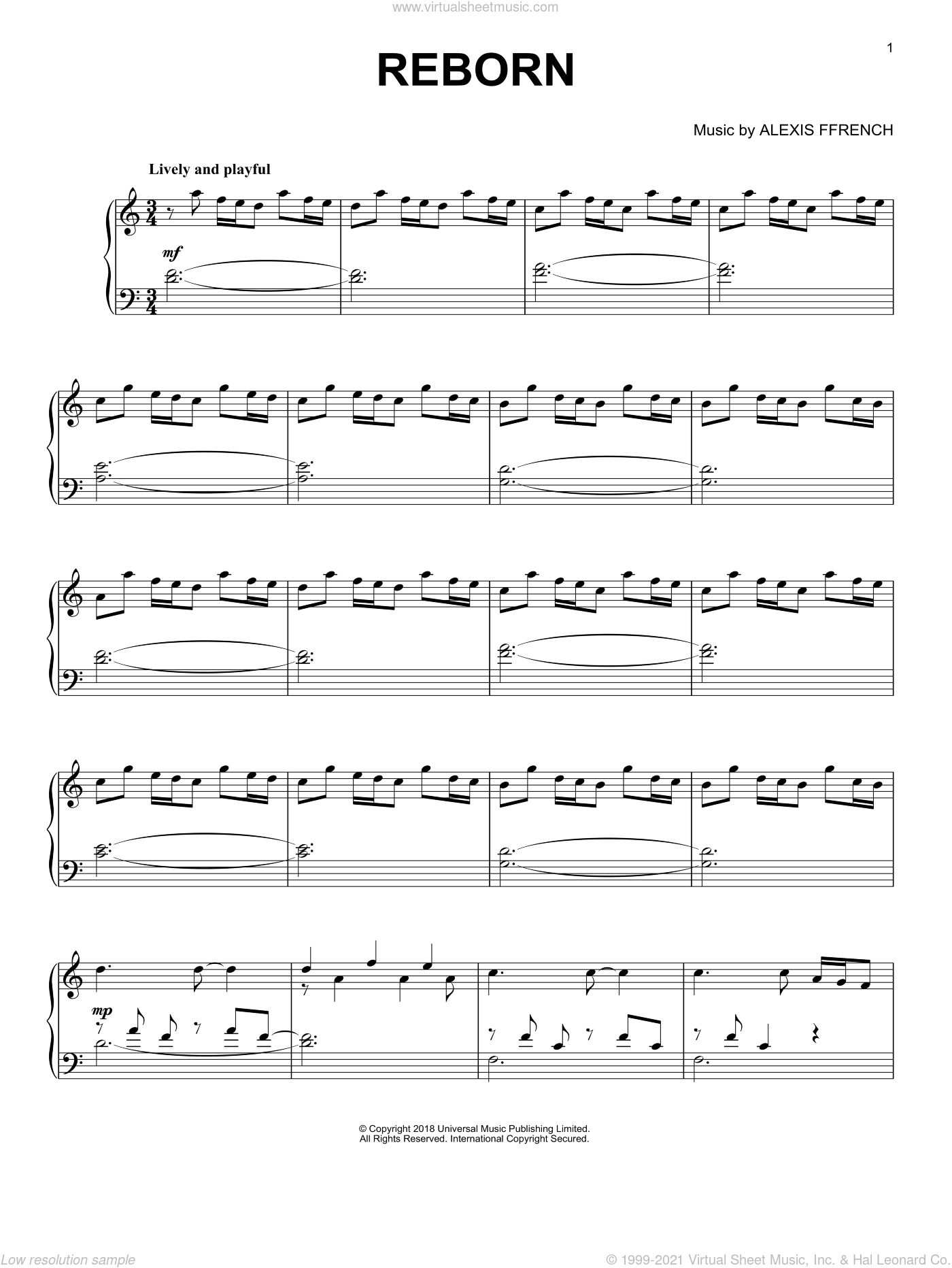 Reborn sheet music for piano solo by Alexis Ffrench, classical score, intermediate skill level