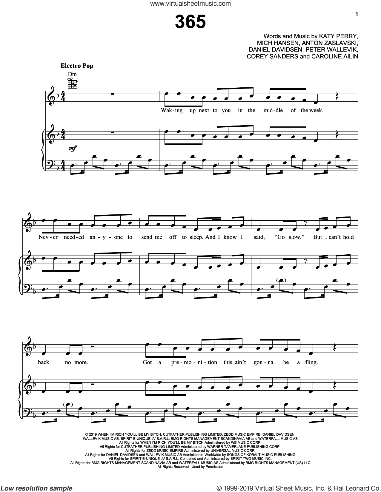 365 sheet music for voice, piano or guitar by Zedd & Katy Perry, Anton Zaslavski, Caroline Ailin, Cory Sanders, Daniel Davidsen, Katy Perry, Mich Hansen and Peter Wallevik, intermediate skill level