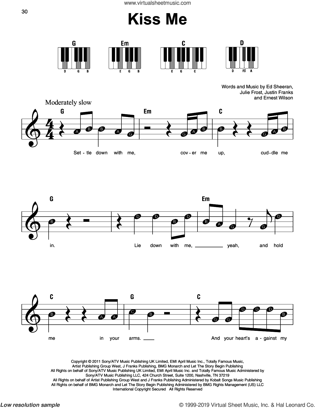 Kiss Me sheet music for piano solo by Ed Sheeran, Ernest Wilson, Julie Frost and Justin Franks, beginner skill level