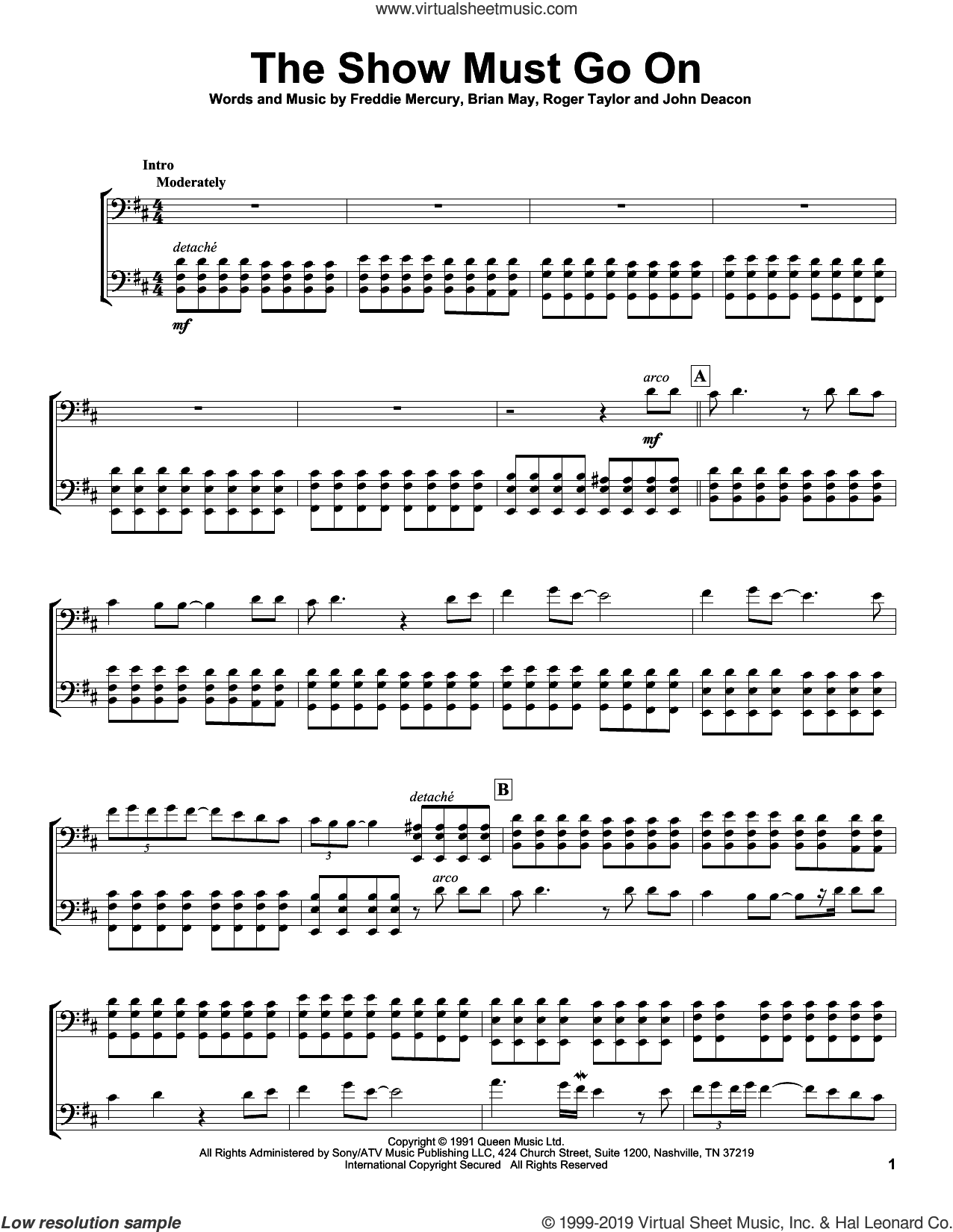 The Show Must Go On sheet music for two cellos (duet, duets) by 2Cellos, Queen, Brian May, Freddie Mercury, John Deacon and Roger Taylor, intermediate skill level