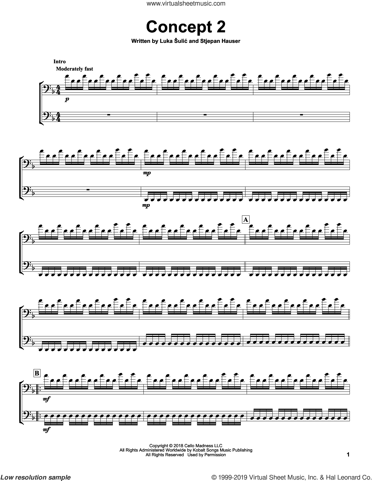 Concept2 sheet music for two cellos (duet, duets) by 2Cellos, Luka Sulic and Stjepan Hauser, classical score, intermediate skill level