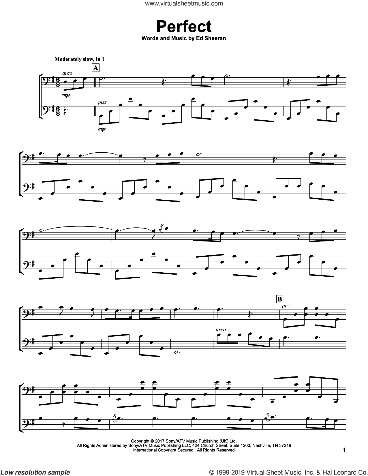 Perfect sheet music for two cellos (duet, duets) by 2Cellos and Ed Sheeran, wedding score, intermediate skill level