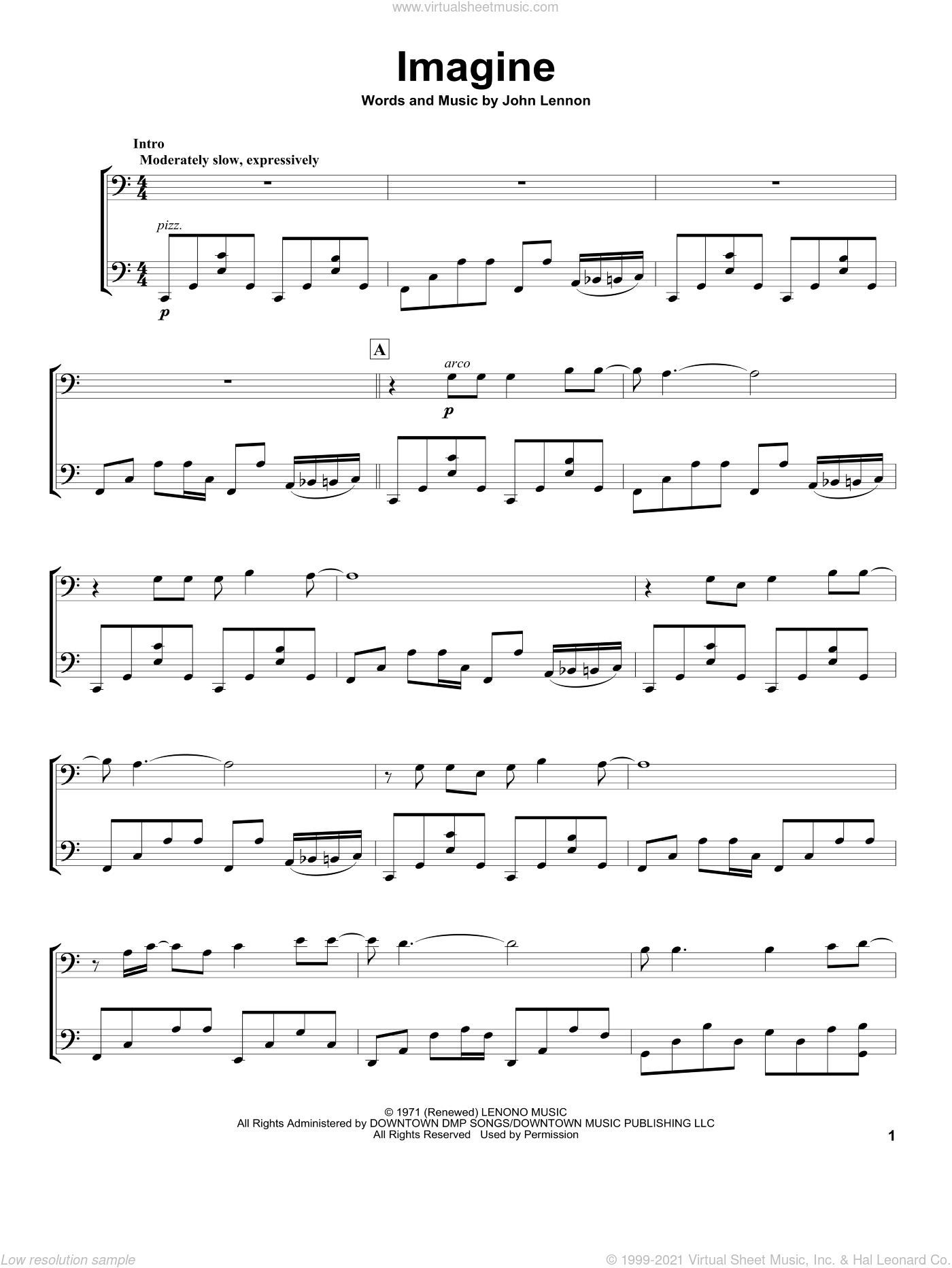 Imagine sheet music for two cellos (duet, duets) by 2Cellos, David Archuleta and John Lennon, intermediate skill level