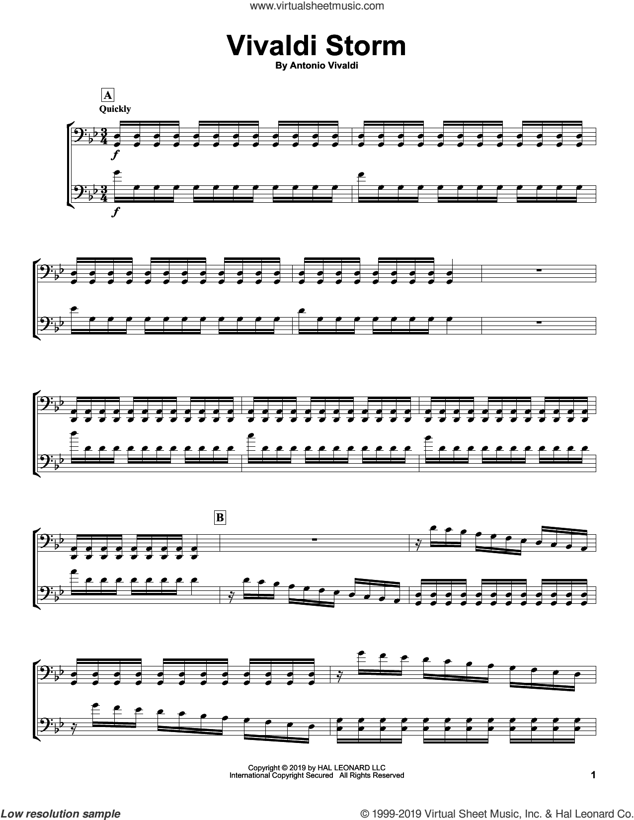 Vivaldi Storm sheet music for two cellos (duet, duets) by 2Cellos and Antonio Vivaldi, classical score, intermediate skill level