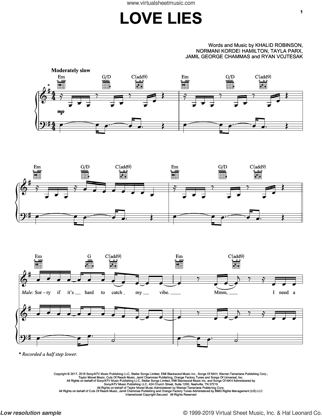 Love Lies (from Love, Simon) sheet music for voice, piano or guitar by Khalid & Normani, Khalid, Jamil George Chammas, Khalid Robinson, Normani Kordei Hamilton, Ryan Vojtesak and Tayla Parx, intermediate skill level
