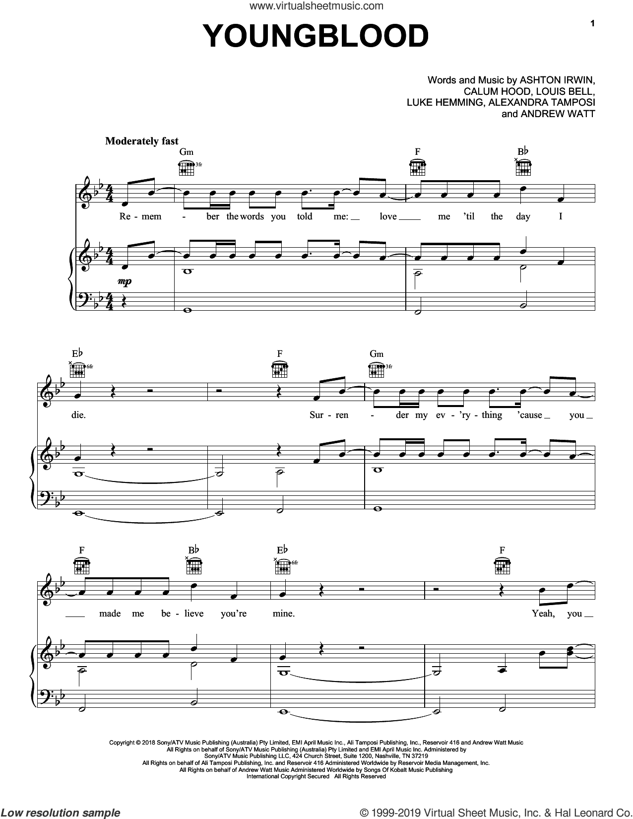 Youngblood sheet music for voice, piano or guitar by 5 Seconds of Summer, Alexandria Tamposi, Andrew Watt, Ashton Irwin, Calum Hood, Louis Bell and Luke Hemming, intermediate skill level