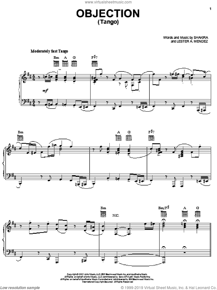 Objection (Tango) sheet music for voice, piano or guitar by Lester Mendez and Shakira. Score Image Preview.