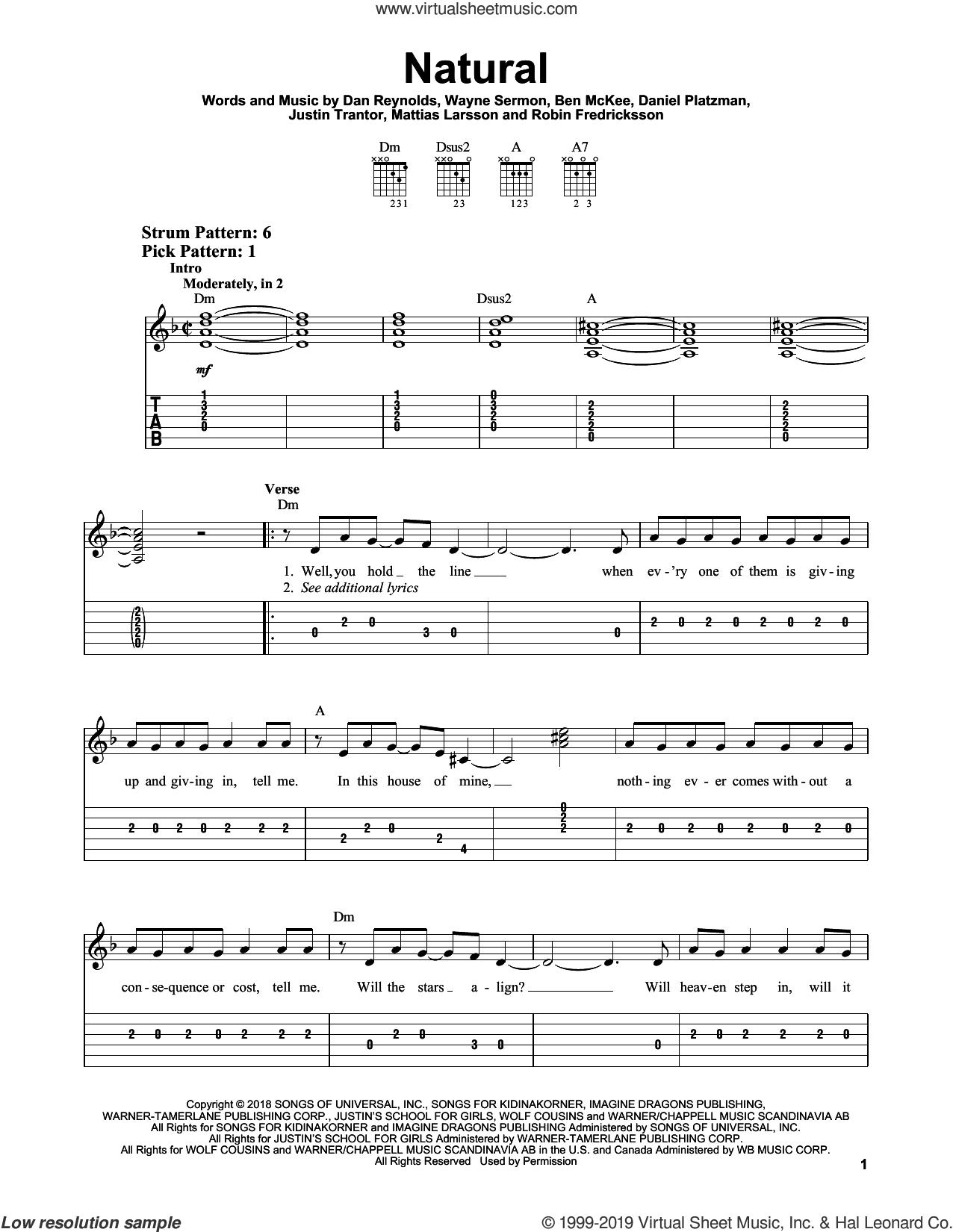 Natural sheet music for guitar solo (easy tablature) by Imagine Dragons, Ben McKee, Dan Reynolds, Daniel Platzman, Justin Tranter, Mattias Larsson, Robin Fredriksson and Wayne Sermon, easy guitar (easy tablature)
