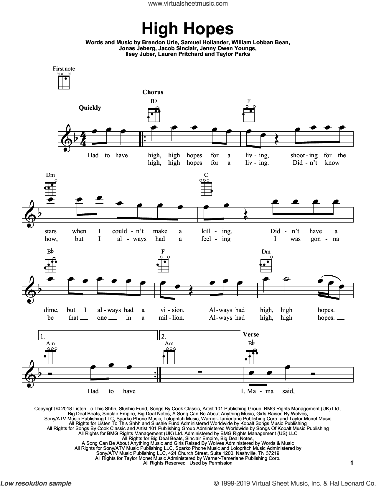 High Hopes sheet music for ukulele by Panic! At The Disco, Brendon Urie, Ilsey Juber, Jacob Sinclair, Jenny Owen Youngs, Jonas Jeberg, Lauren Pritchard, Sam Hollander, Taylor Parks and William Lobban Bean, intermediate skill level