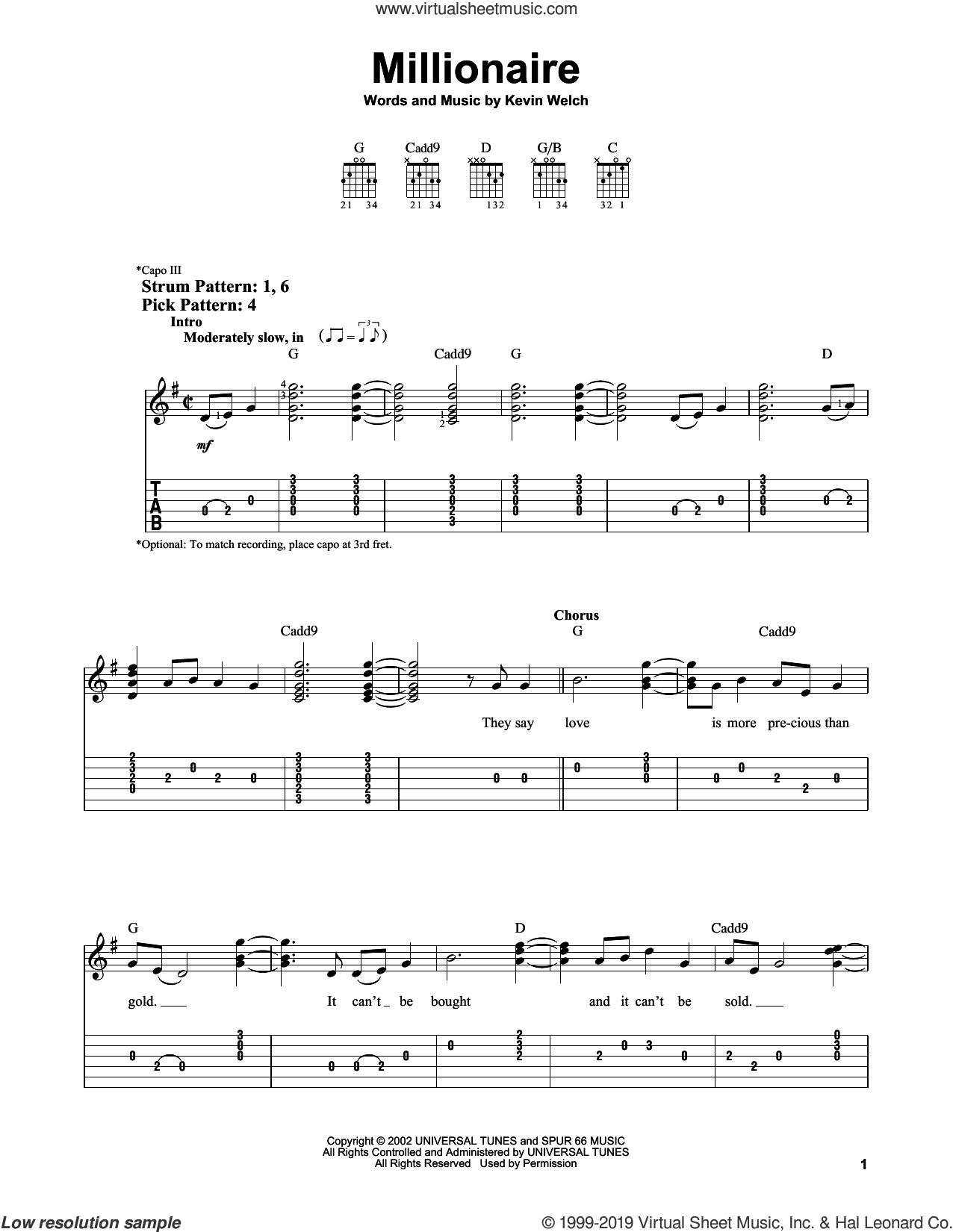 Millionaire sheet music for guitar solo (easy tablature) by Chris Stapleton and Kevin Welch, easy guitar (easy tablature)