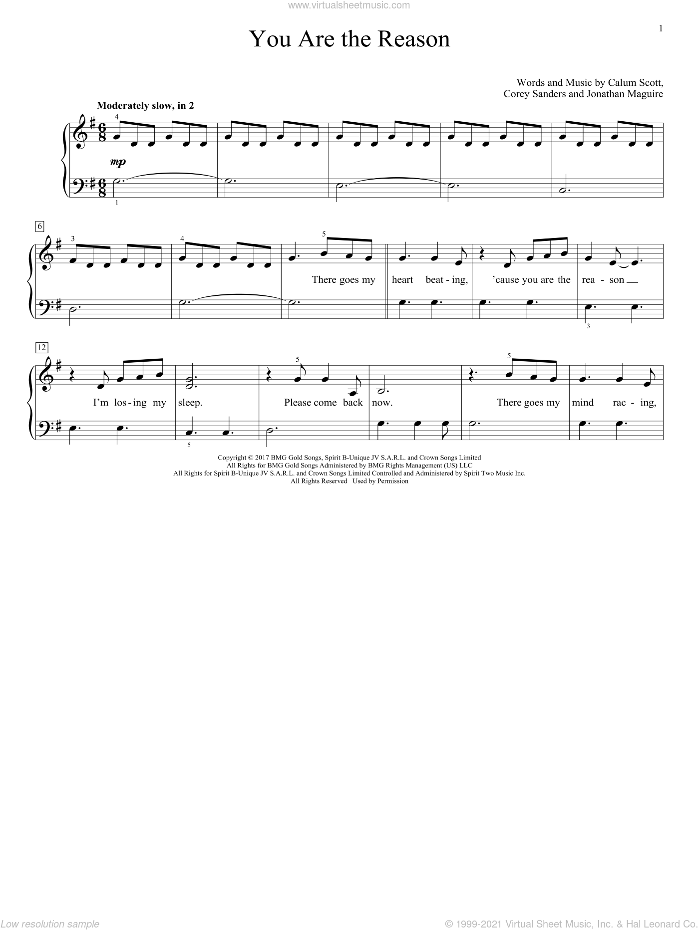 You Are The Reason sheet music for piano solo (elementary) by Calum Scott, Corey Sanders and Jon Maguire, beginner piano (elementary)