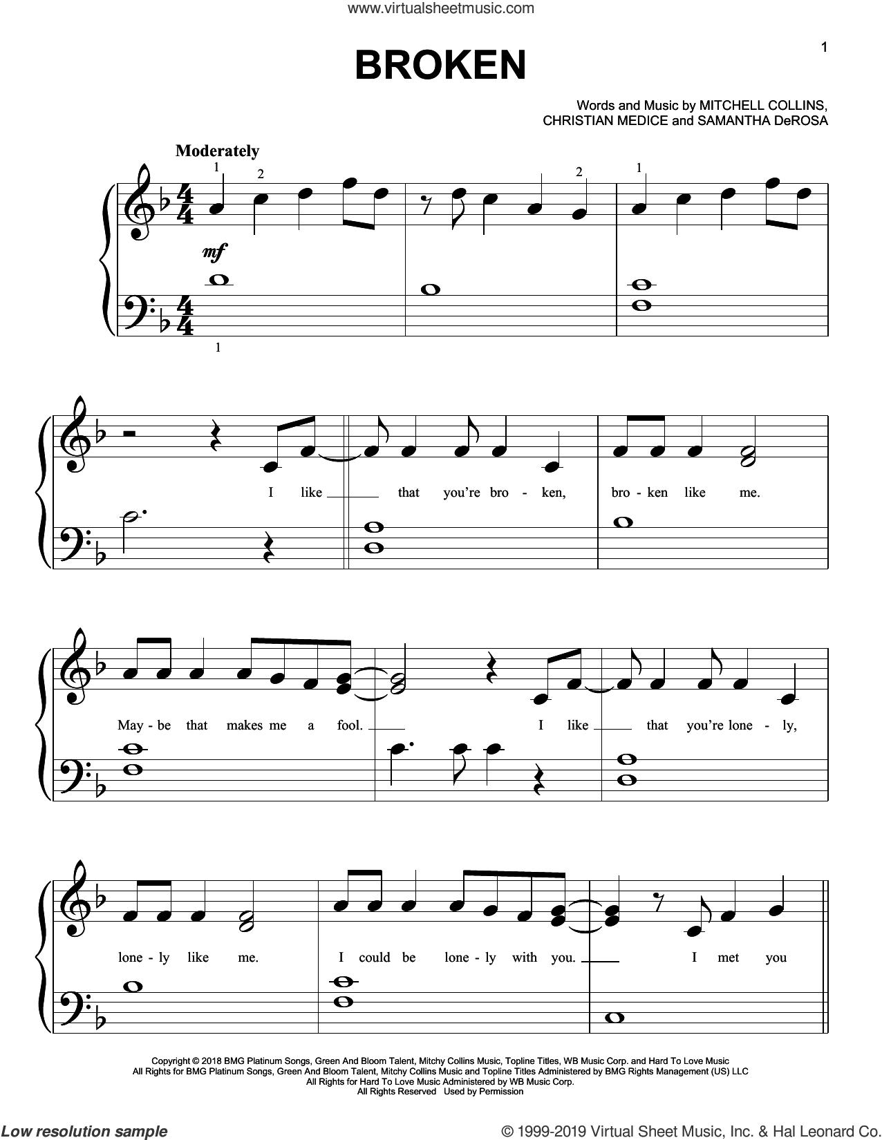 lovelytheband - broken sheet music for piano solo (big note book)  virtual sheet music