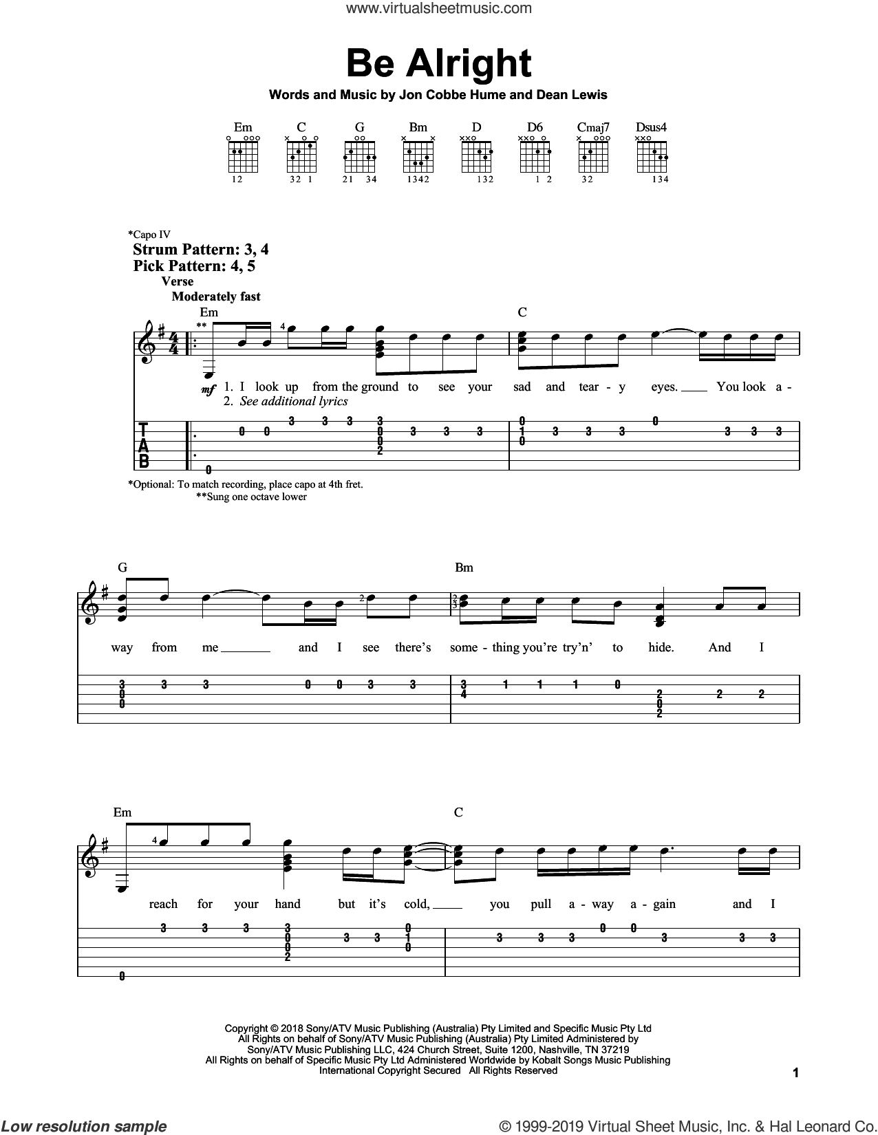 Be Alright sheet music for guitar solo (easy tablature) by Dean Lewis and Jon Cobbe Hume, easy guitar (easy tablature)